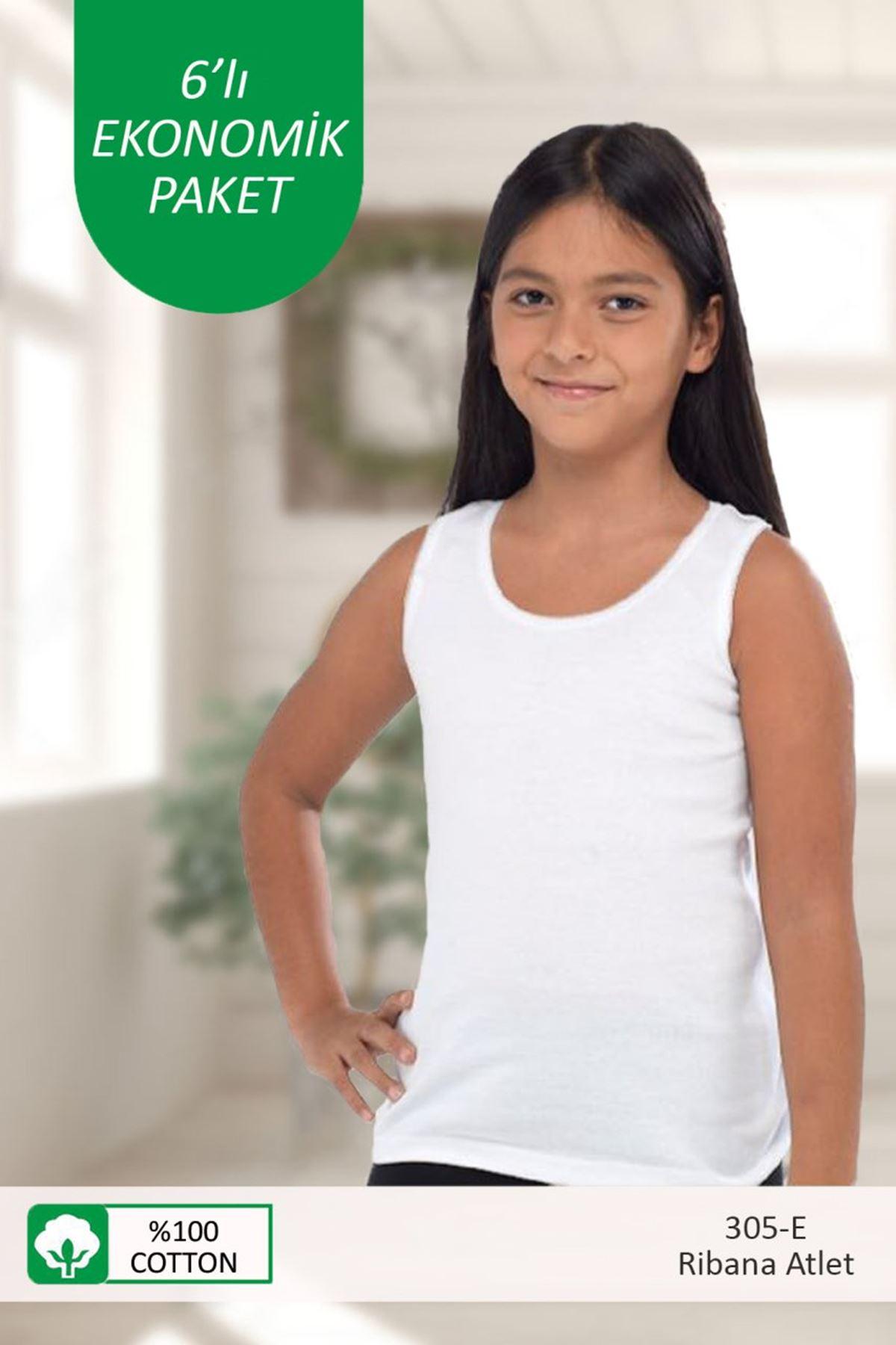 Beyaz Kız Çocuk 6 ' Lı Paket E-Serisi Ribana Cotton Atlet 305-E