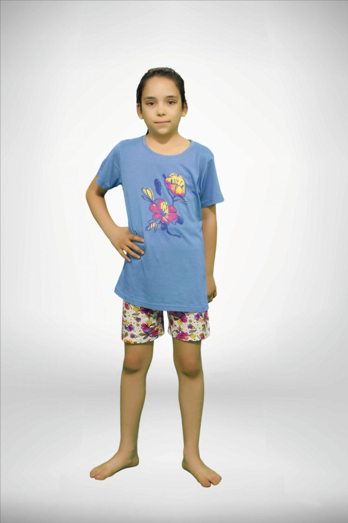 Mavi Kız Çocuk Baskılı 3 lü Yazlık Pijama Takımı 4001