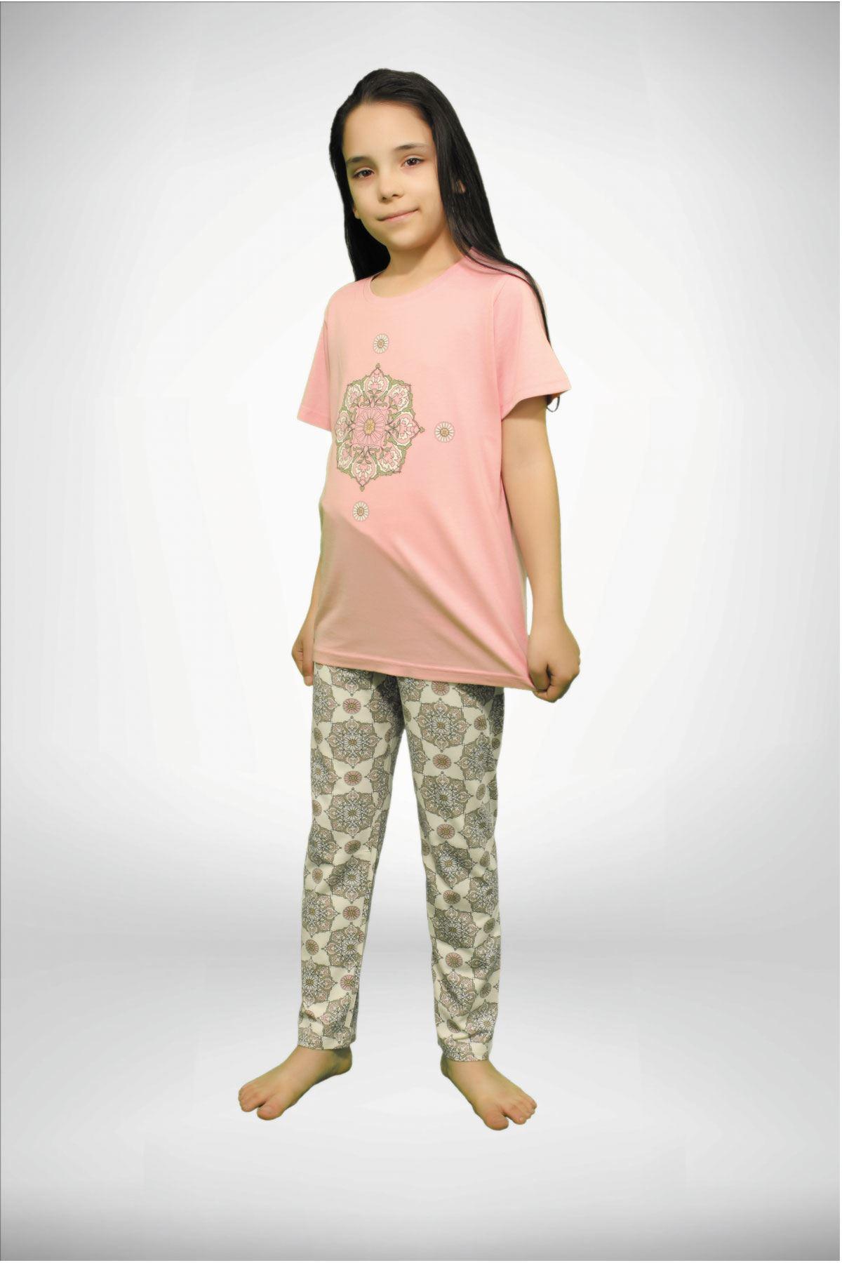 Koyu Pembe Kız Çocuk Baskılı 3 lü Yazlık Pijama Takımı 4001