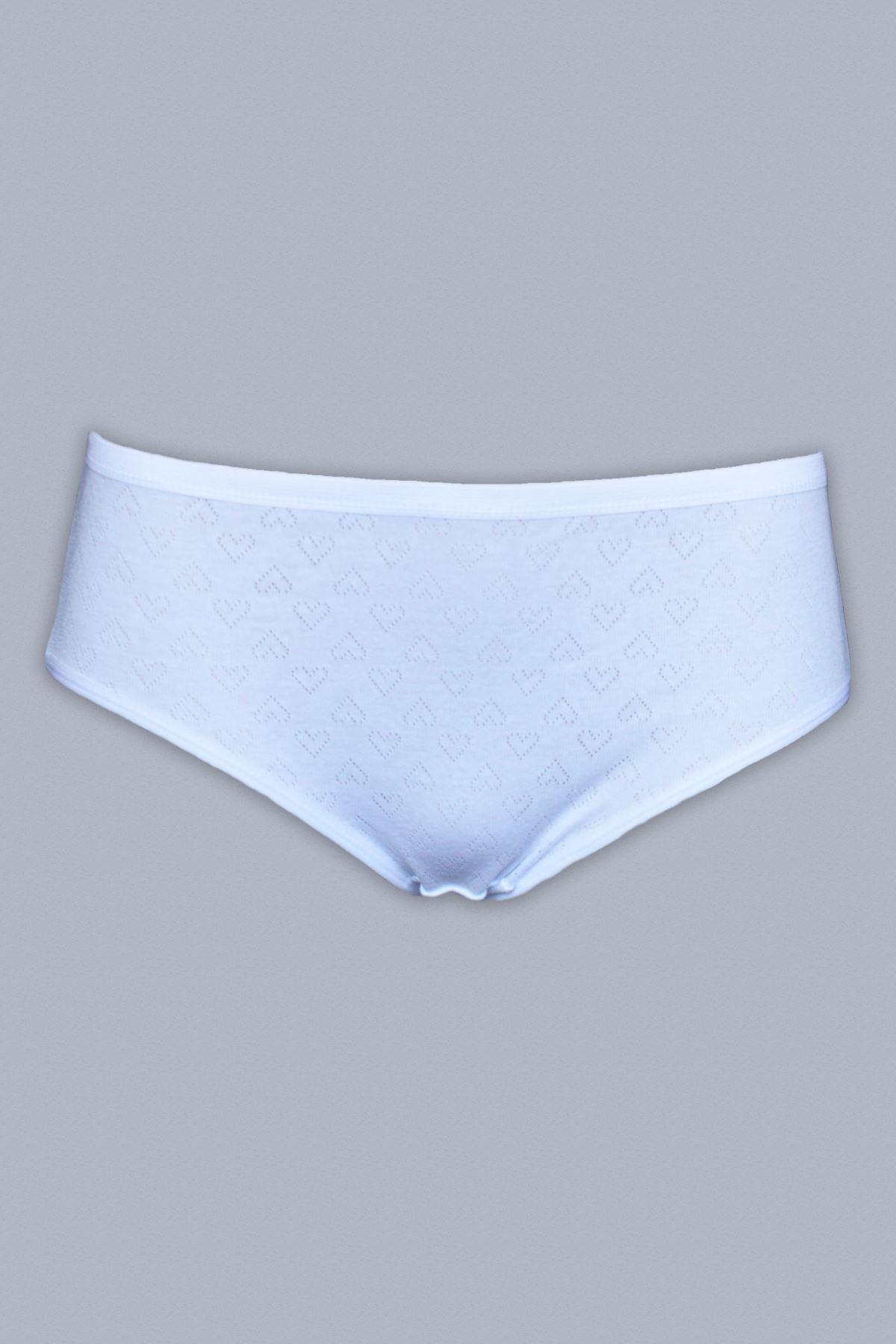 Beyaz Kadın 6 ' Lı Paket Normal Bel Jakarlı Cotton Slip 350