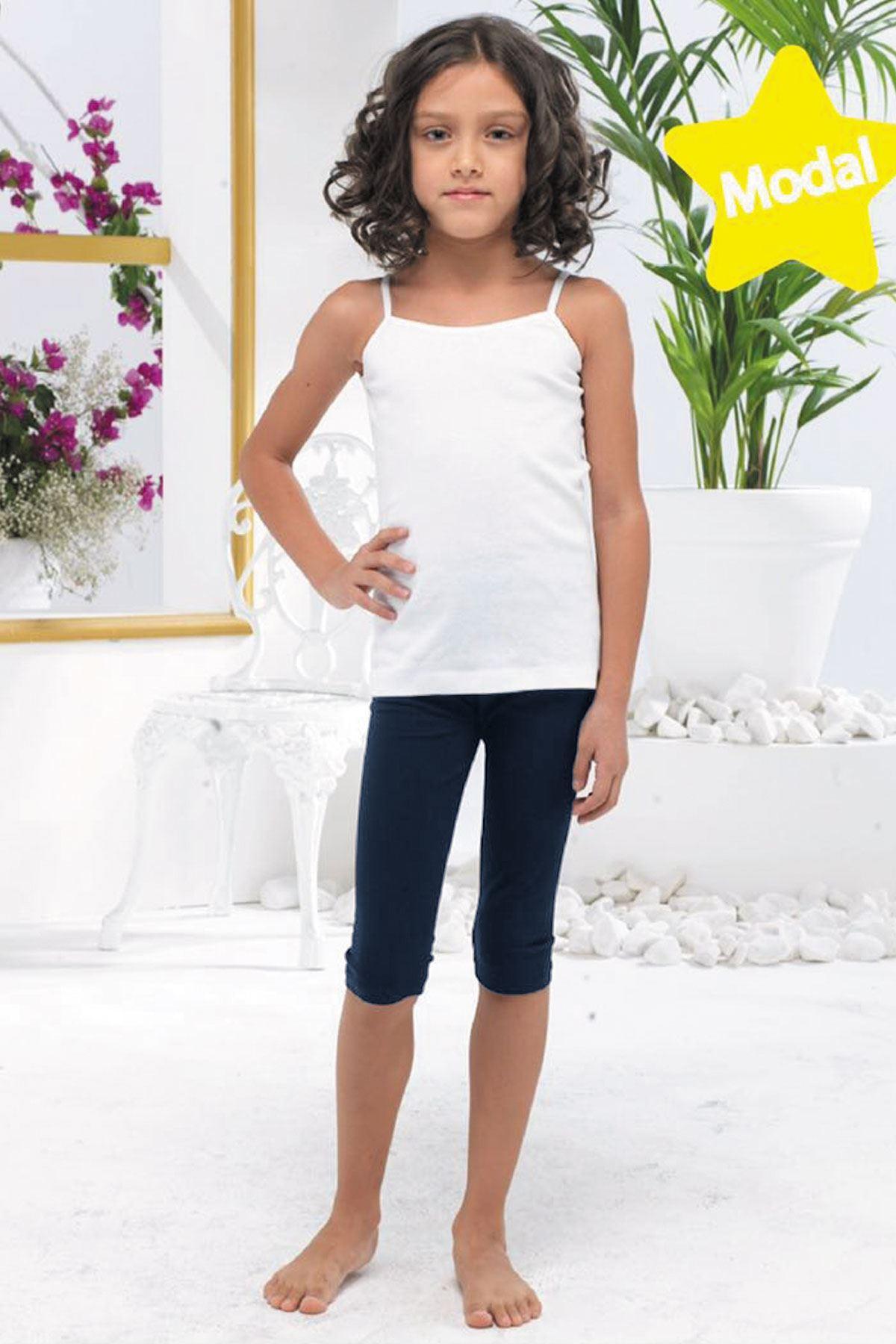 Lacivert Kız Çocuk Kapri Modal Tayt 311