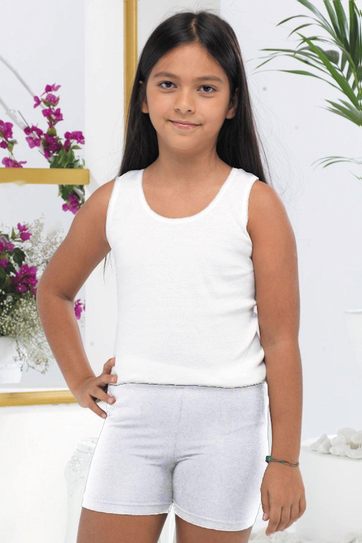Beyaz Kız Çocuk Modal Kısa Şort Tayt 309