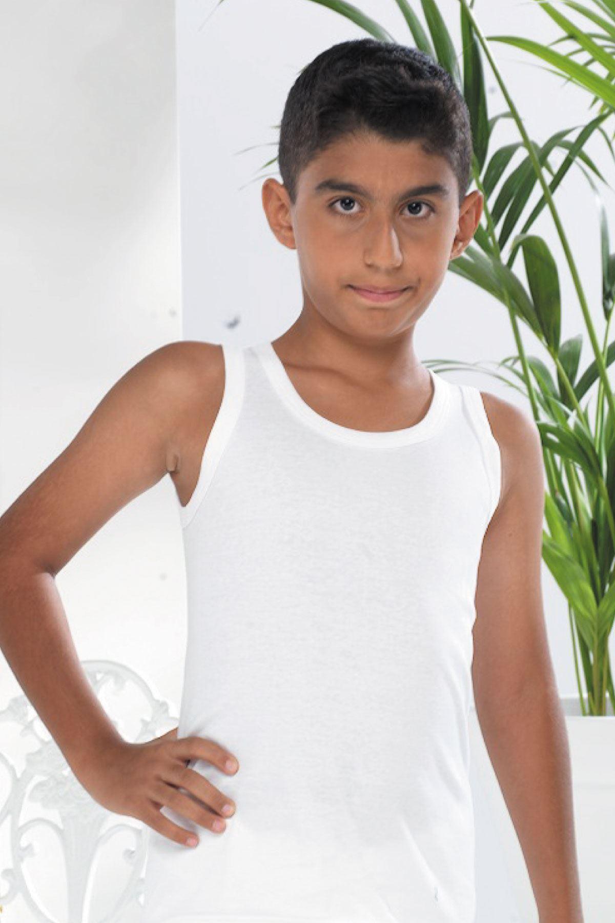 Beyaz Erkek Çocuk İnce Yaz Atleti 210