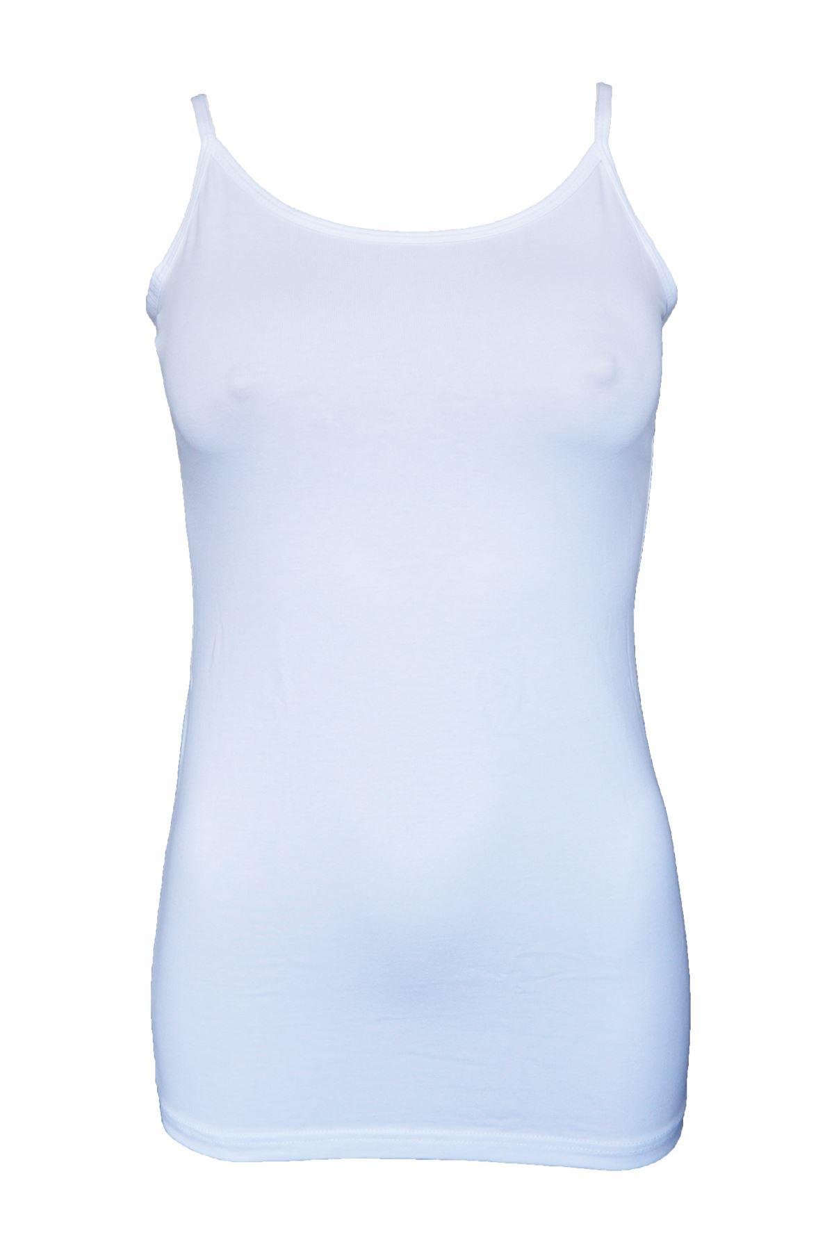 Beyaz Kadın İp Askılı Uzun Modal Atlet 144