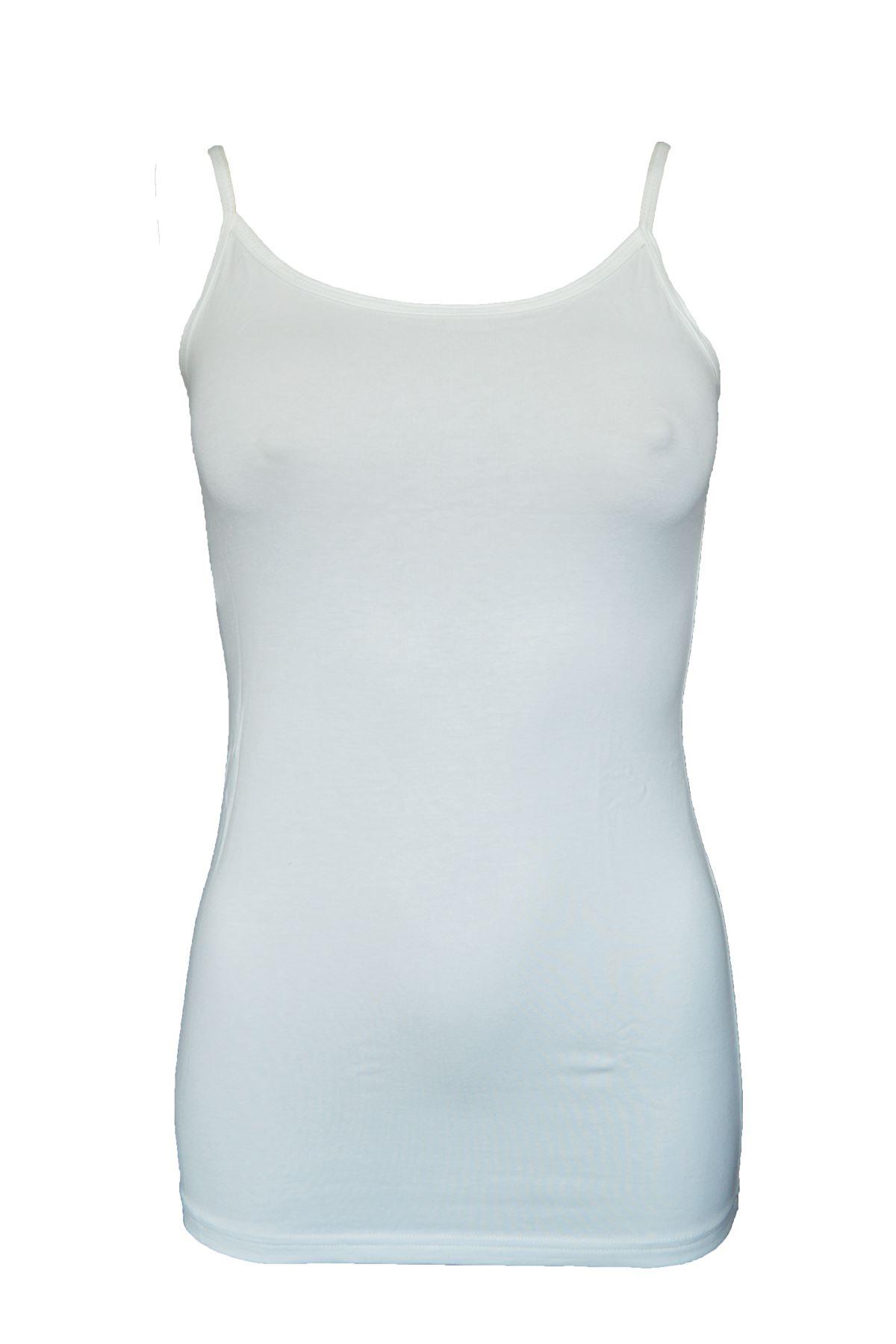 Ekru Kadın İp Askılı Uzun Modal Atlet 144