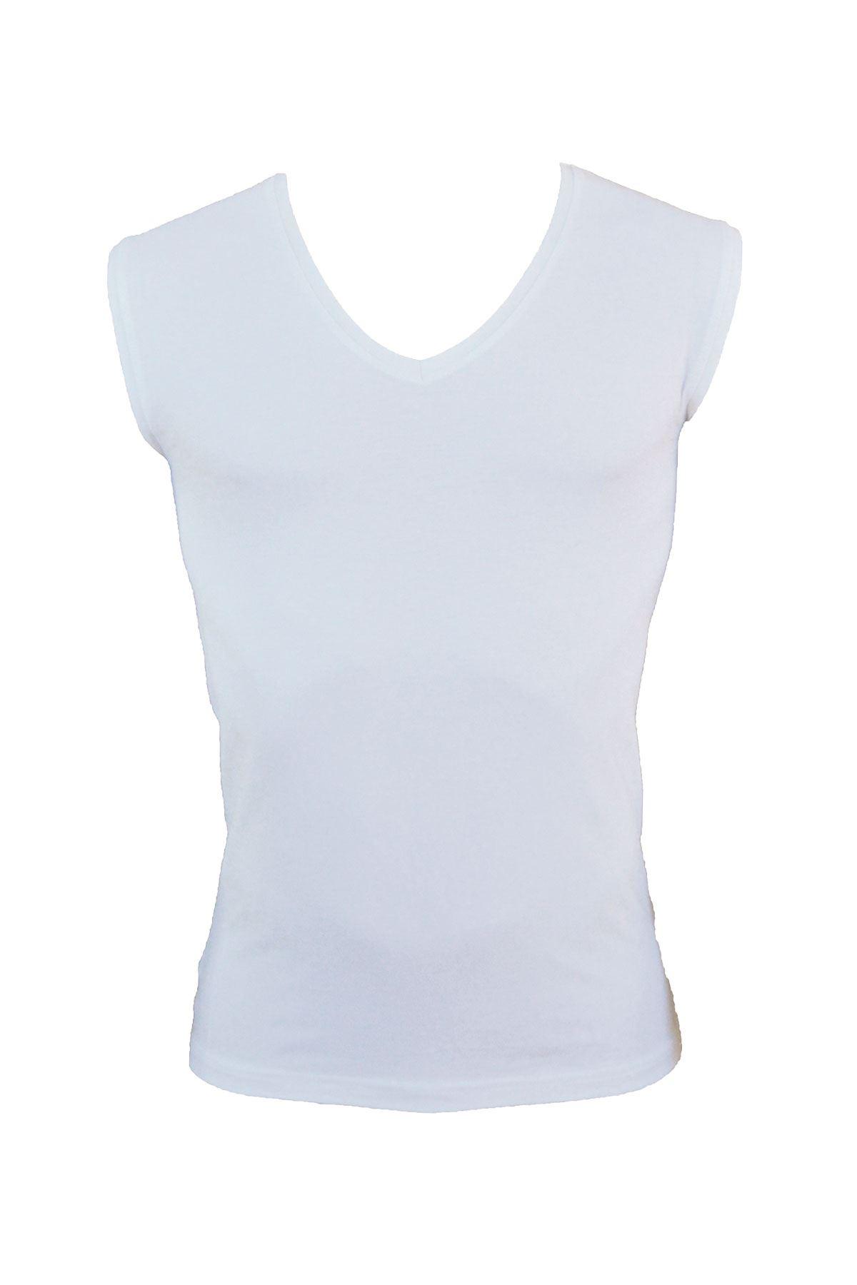 Beyaz Erkek V Yaka Kolsuz Cotton Body 091
