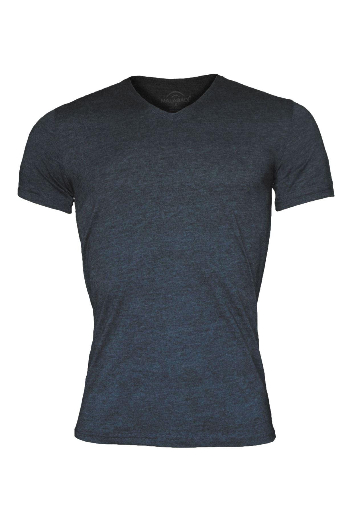 Antrasit Erkek V Yaka Yaz Serinliği Tshirt 085