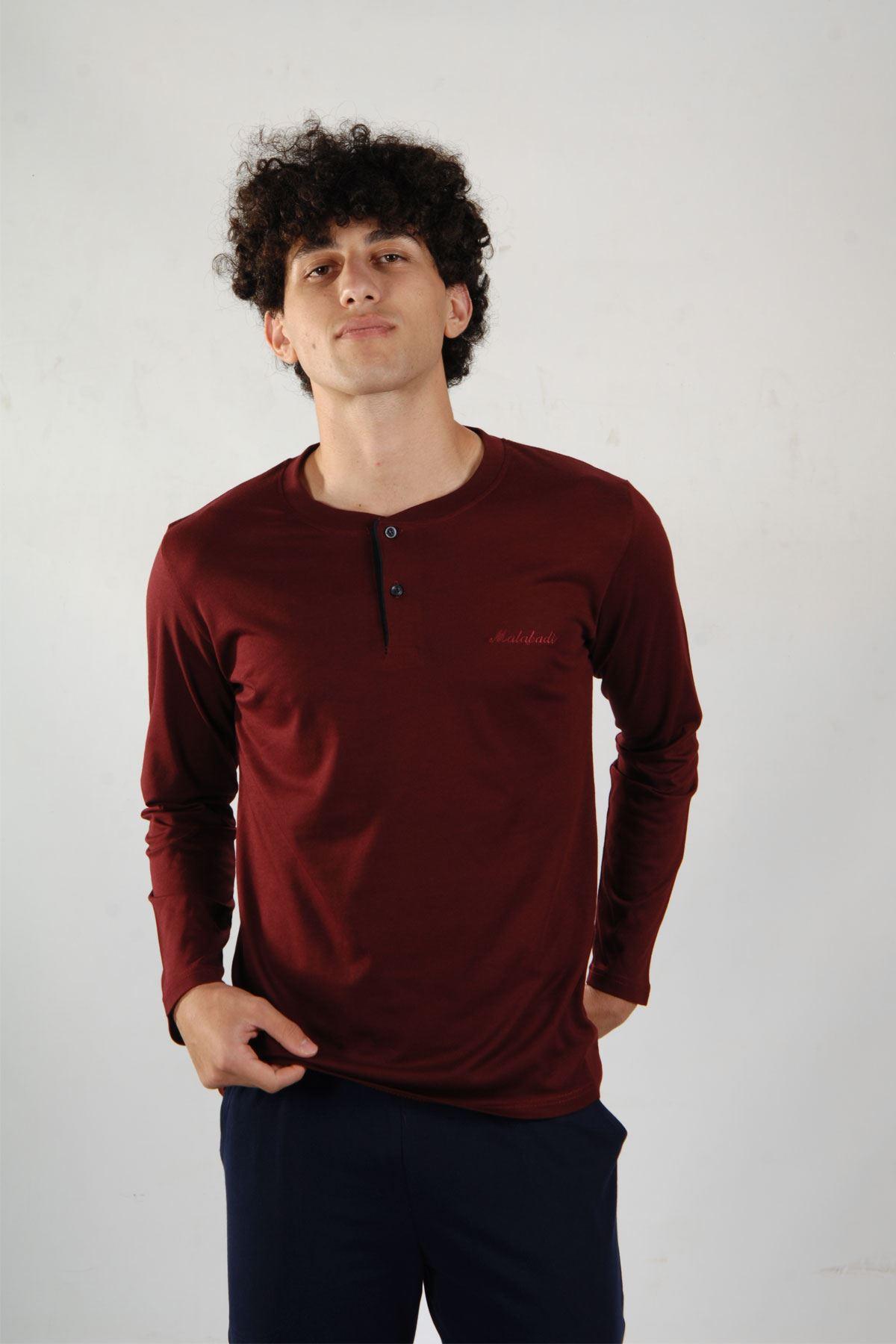 Bordo Erkek Pijama Takımı Düğmeli Yaka Kışlık Uzun Kollu Pijama 6010