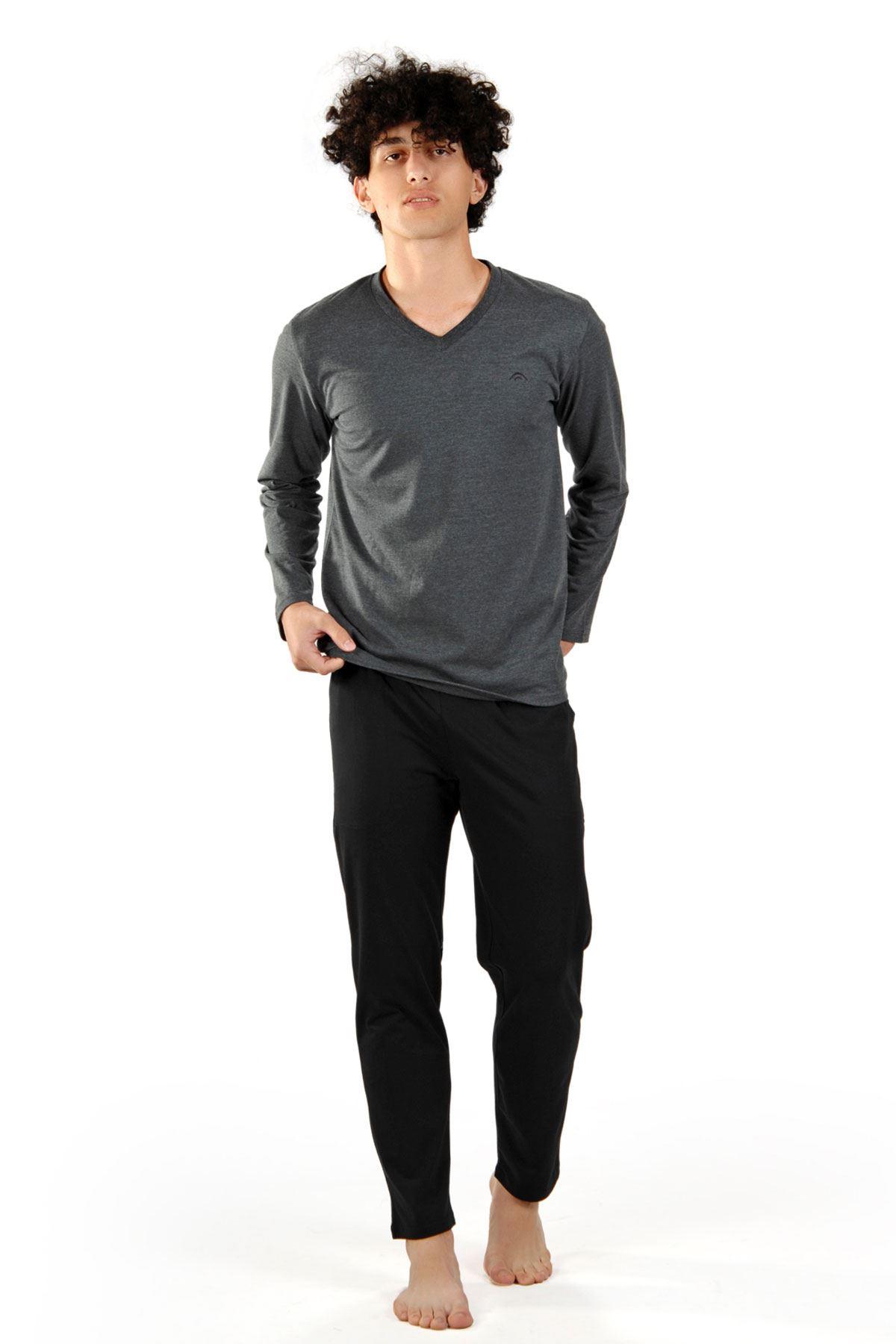 Anrtasit Erkek Pijama Takımı V Yaka Kışlık Uzun Kollu Pijama 6011