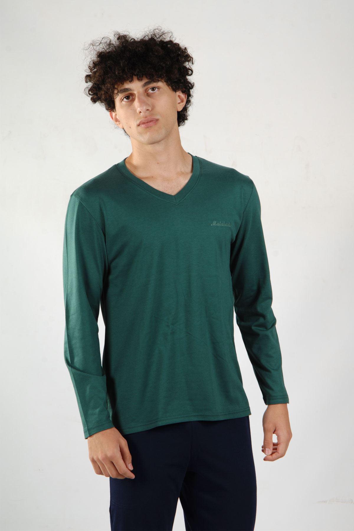 Yeşil Erkek Pijama Takımı V Yaka Kışlık Uzun Kollu Pijama 6011