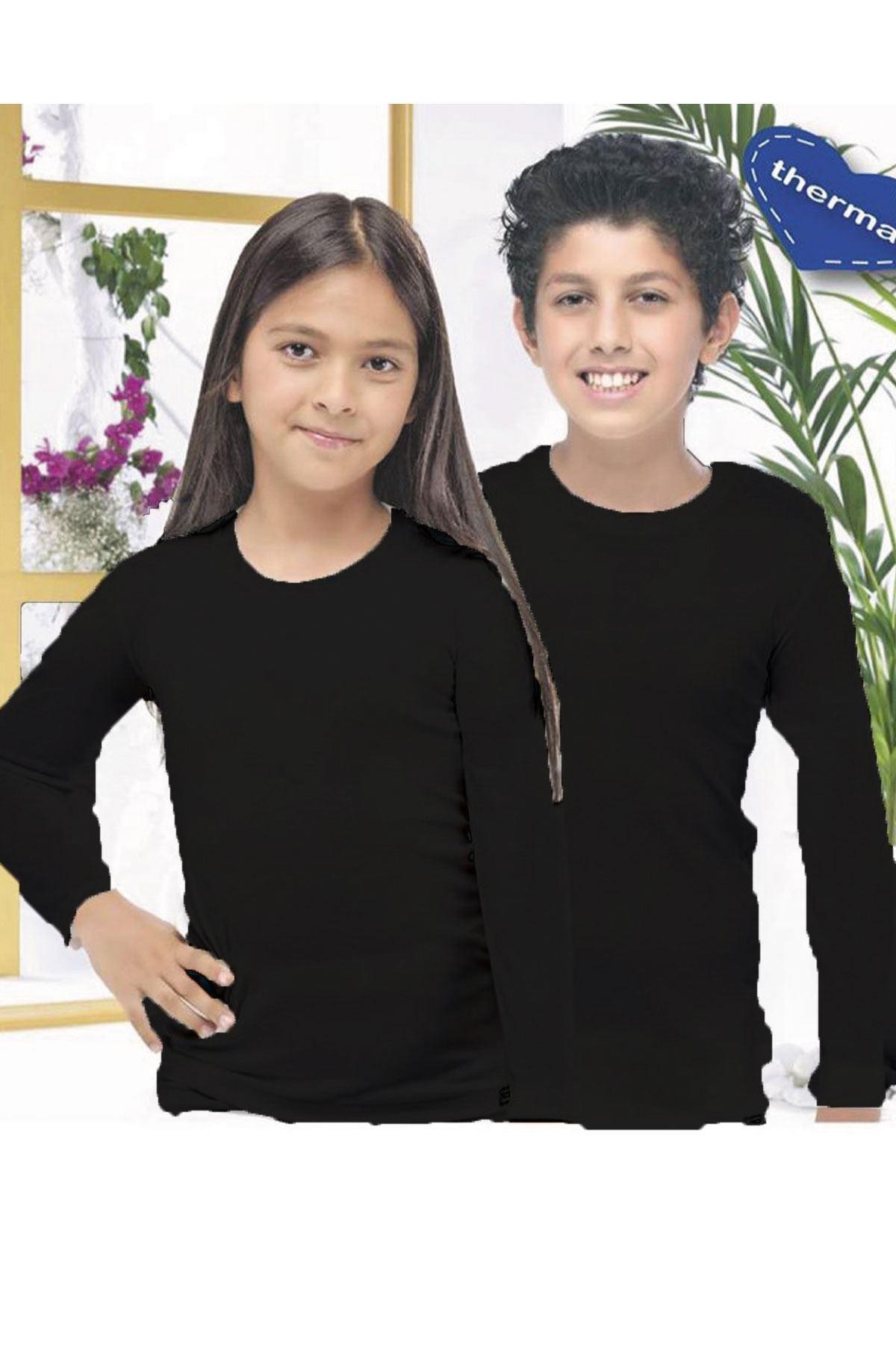 Siyah Unisex Çocuk Termal İçlik Uzun Kollu Fanila 405