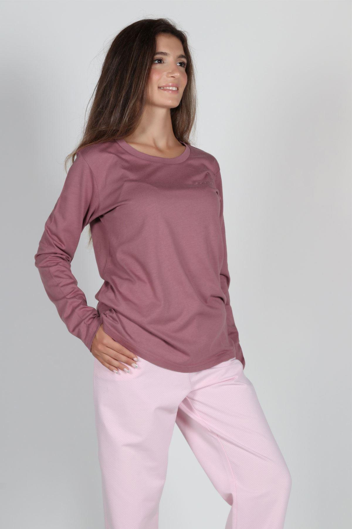 Gül Kurusu Kadın Pijama Takımı Açık Yaka Kışlık Uzun Kollu Pijama 5002