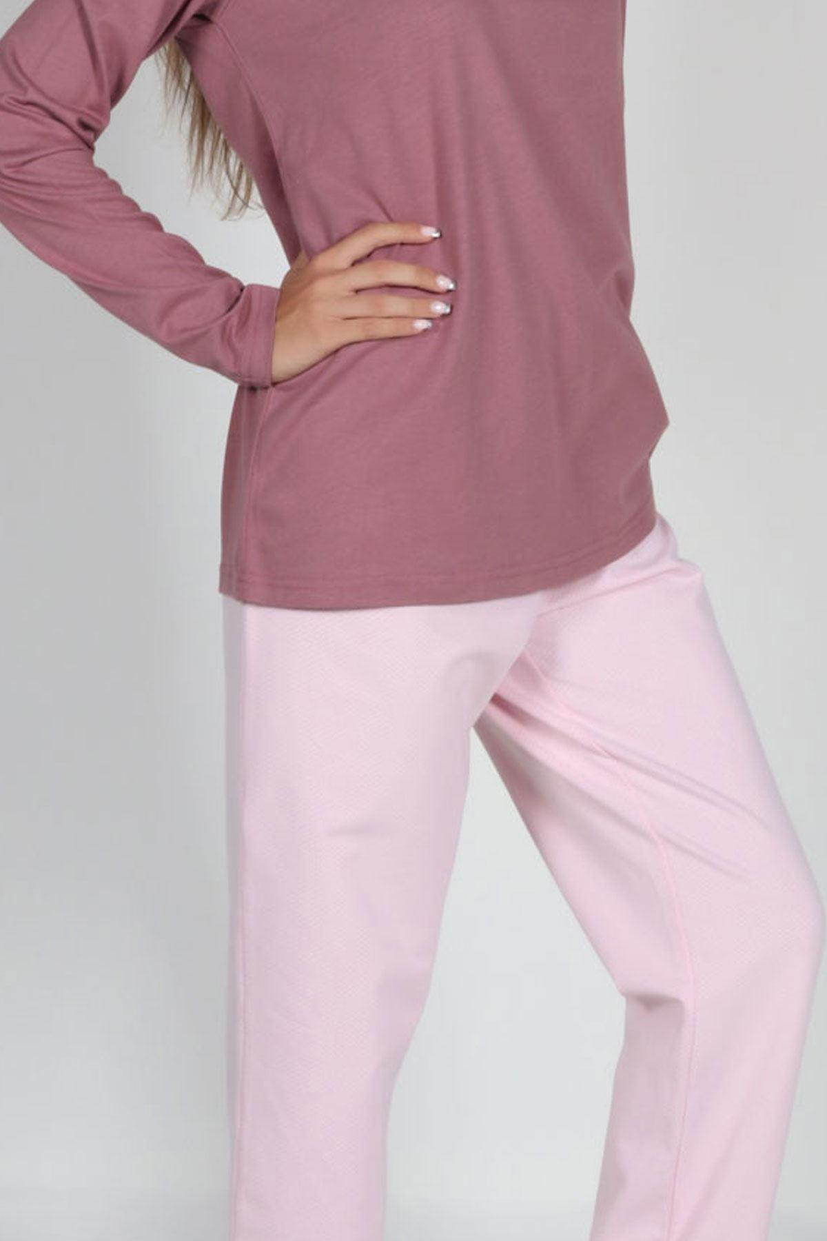 Gül Kurusu Kadın Pijama Takımı Düğmeli Yaka Kışlık Uzun Kollu Pijama 5003