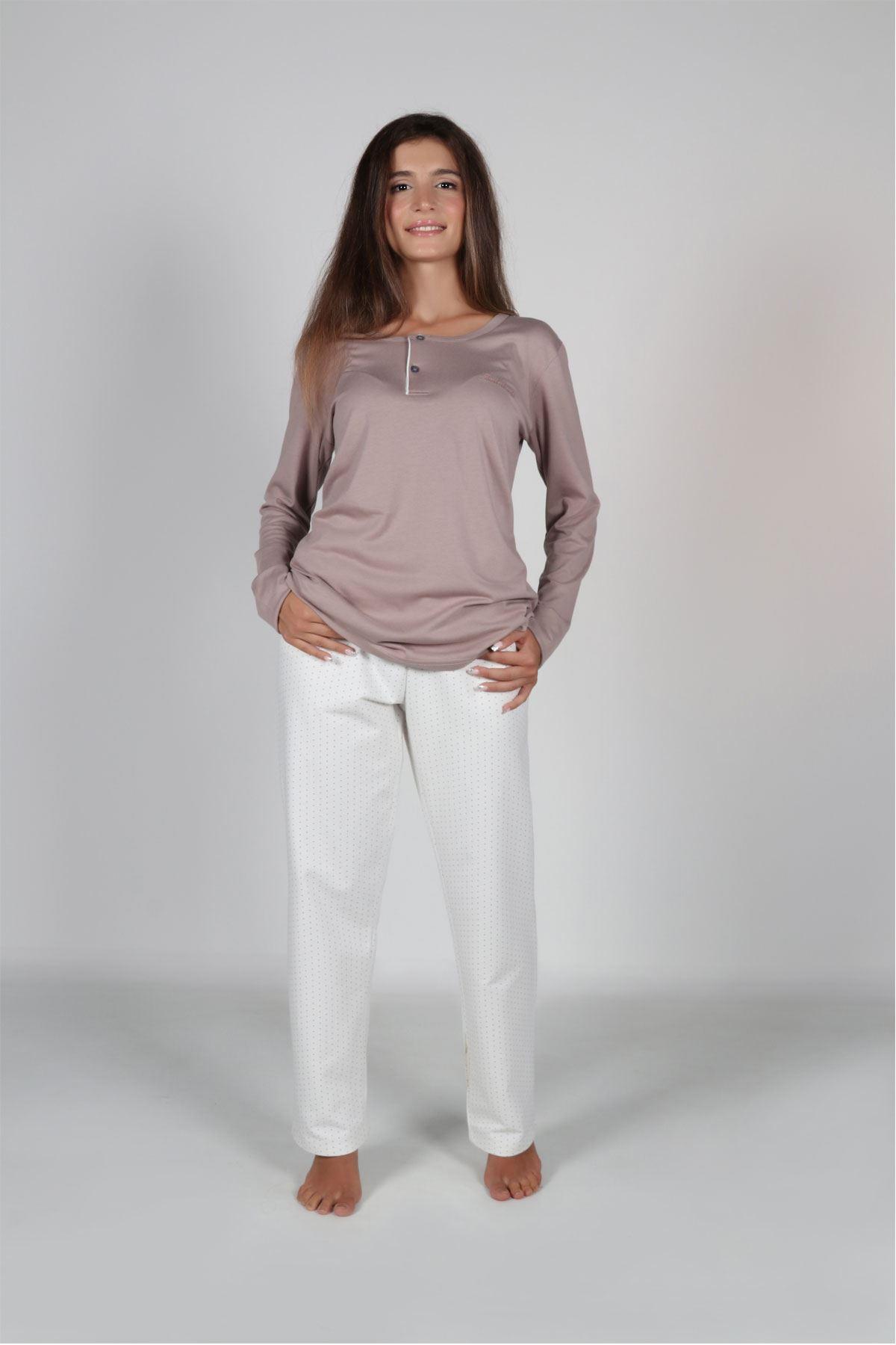 Vizon Kadın Pijama Takımı Düğmeli Yaka Kışlık Uzun Kollu Pijama 5003