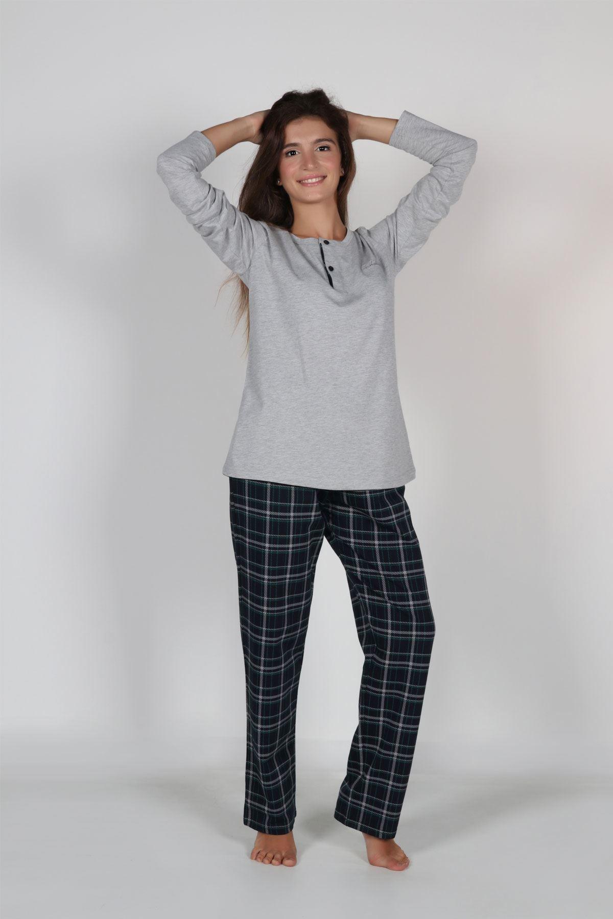 Gri Ekoseli Kadın Pijama Takımı Düğmeli Yaka Kışlık Uzun Kollu Pijama 5003
