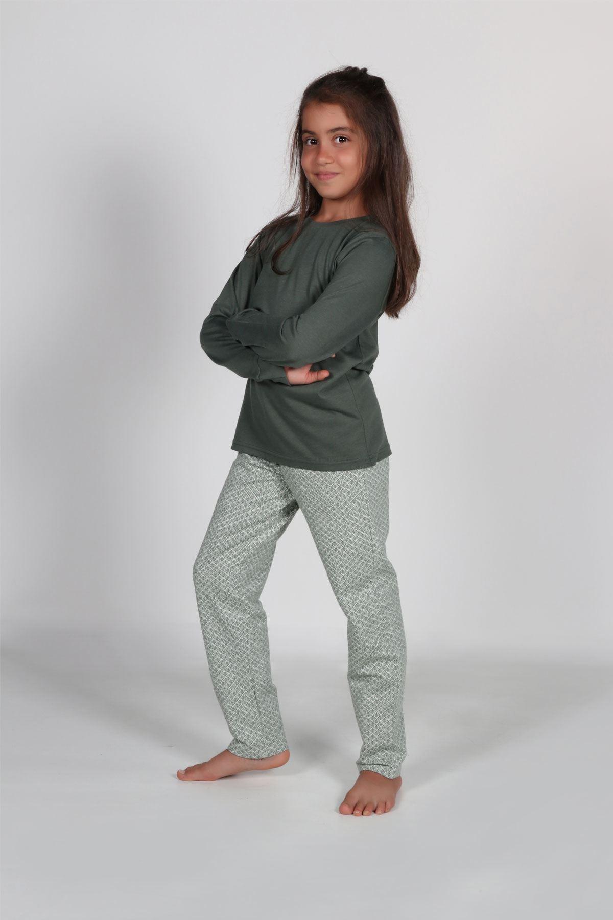 Yeşil Kız Çocuk Pijama Takımı Kışlık Uzun Kollu Pijama 4002