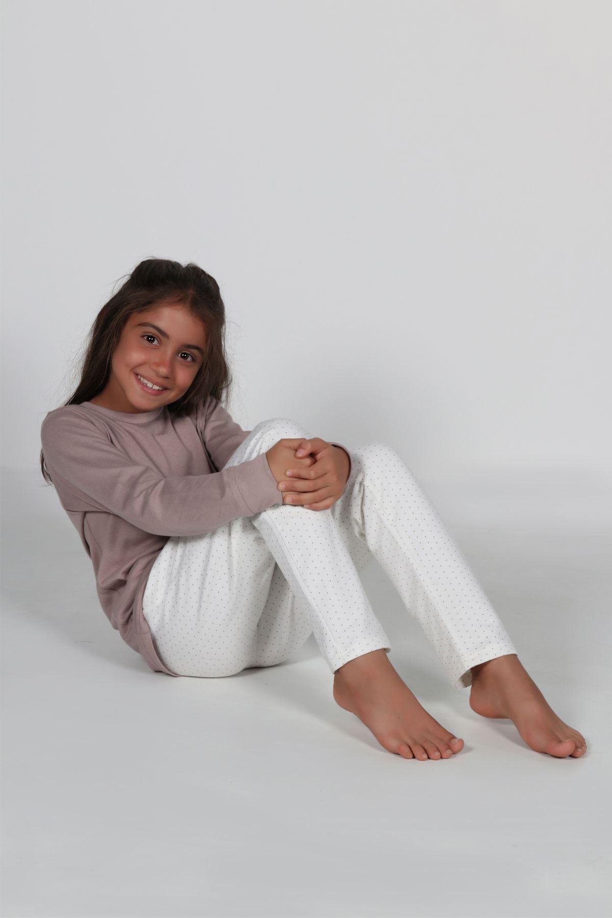 Vizon Kız Çocuk Pijama Takımı Kışlık Uzun Kollu Pijama 4002