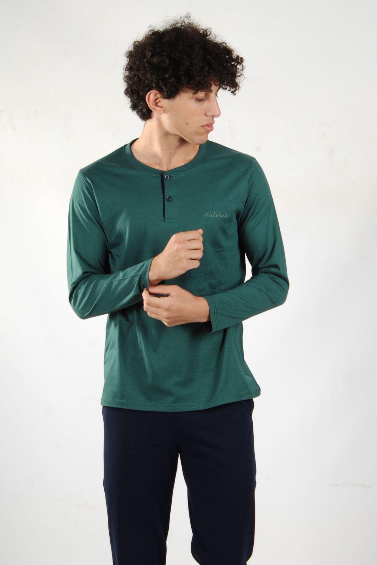 Yeşil Erkek Pijama Takımı Düğmeli Yaka Kışlık Uzun Kollu Pijama 6010