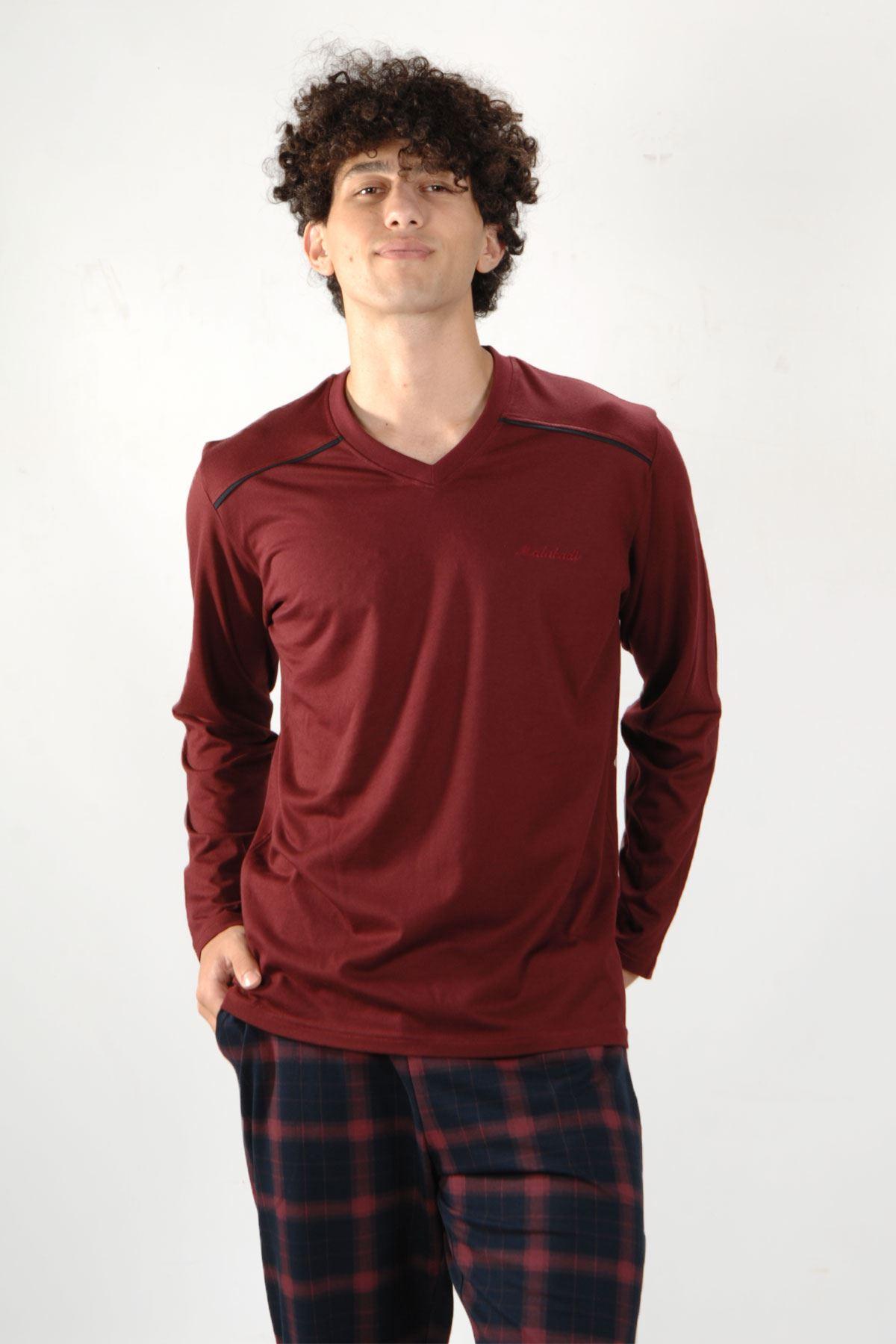 Bordo Ekoseli Erkek Pijama Takımı V Yaka Kışlık Uzun Kollu Pijama 6014