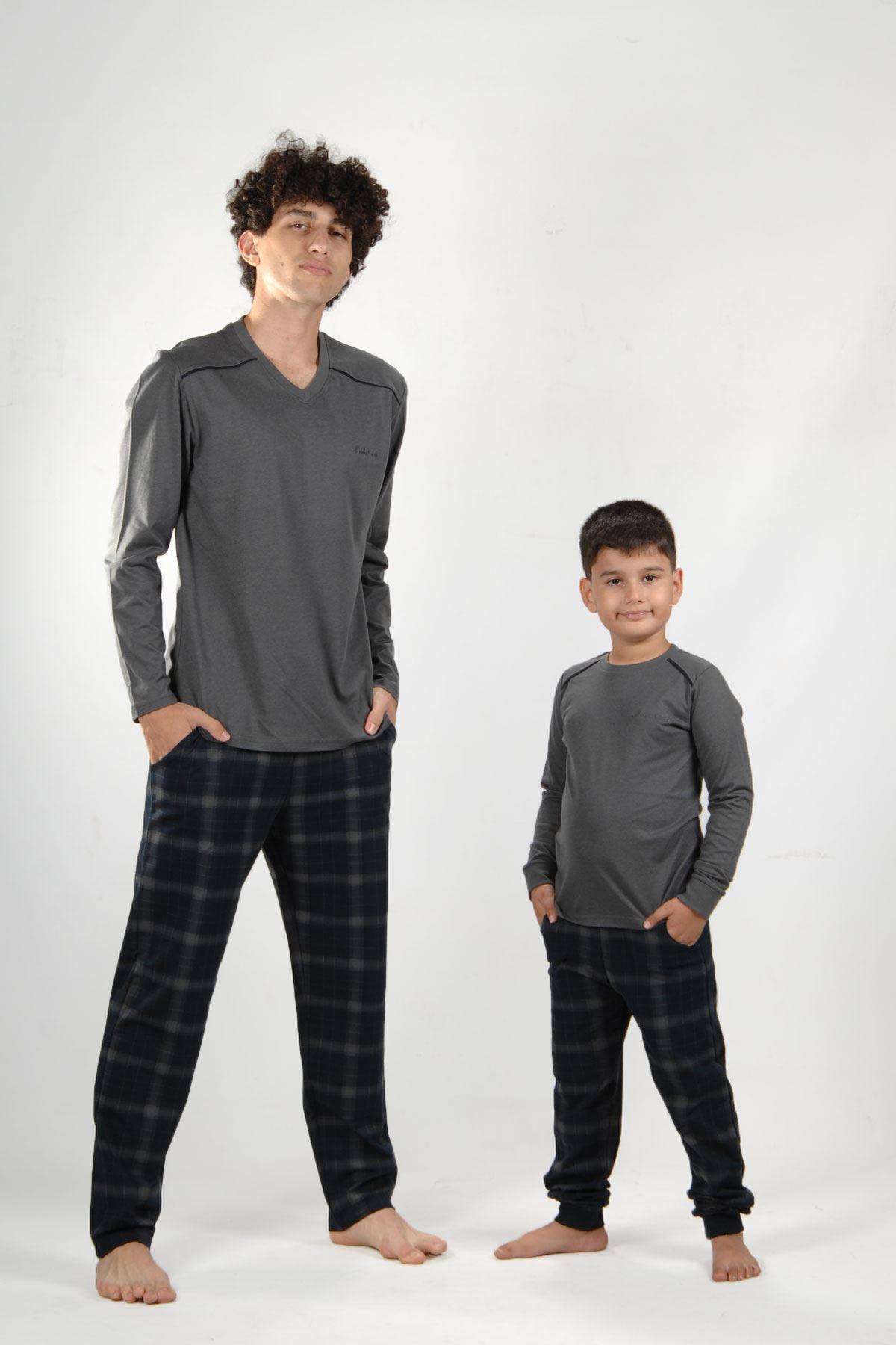 Füme Ekoseli Erkek Pijama Takımı V Yaka Kışlık Uzun Kollu Pijama 6014