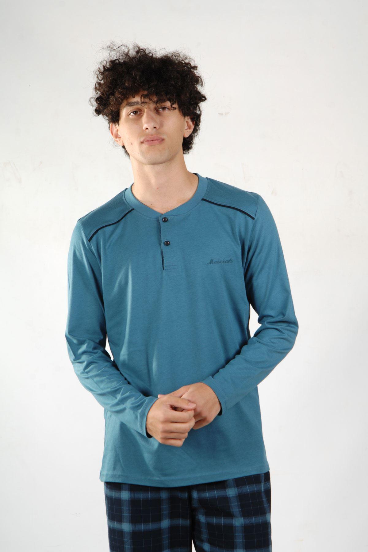 Mavi Ekoseli Erkek Pijama Takımı Düğmeli Yaka Kışlık Uzun Kollu Pijama 6015