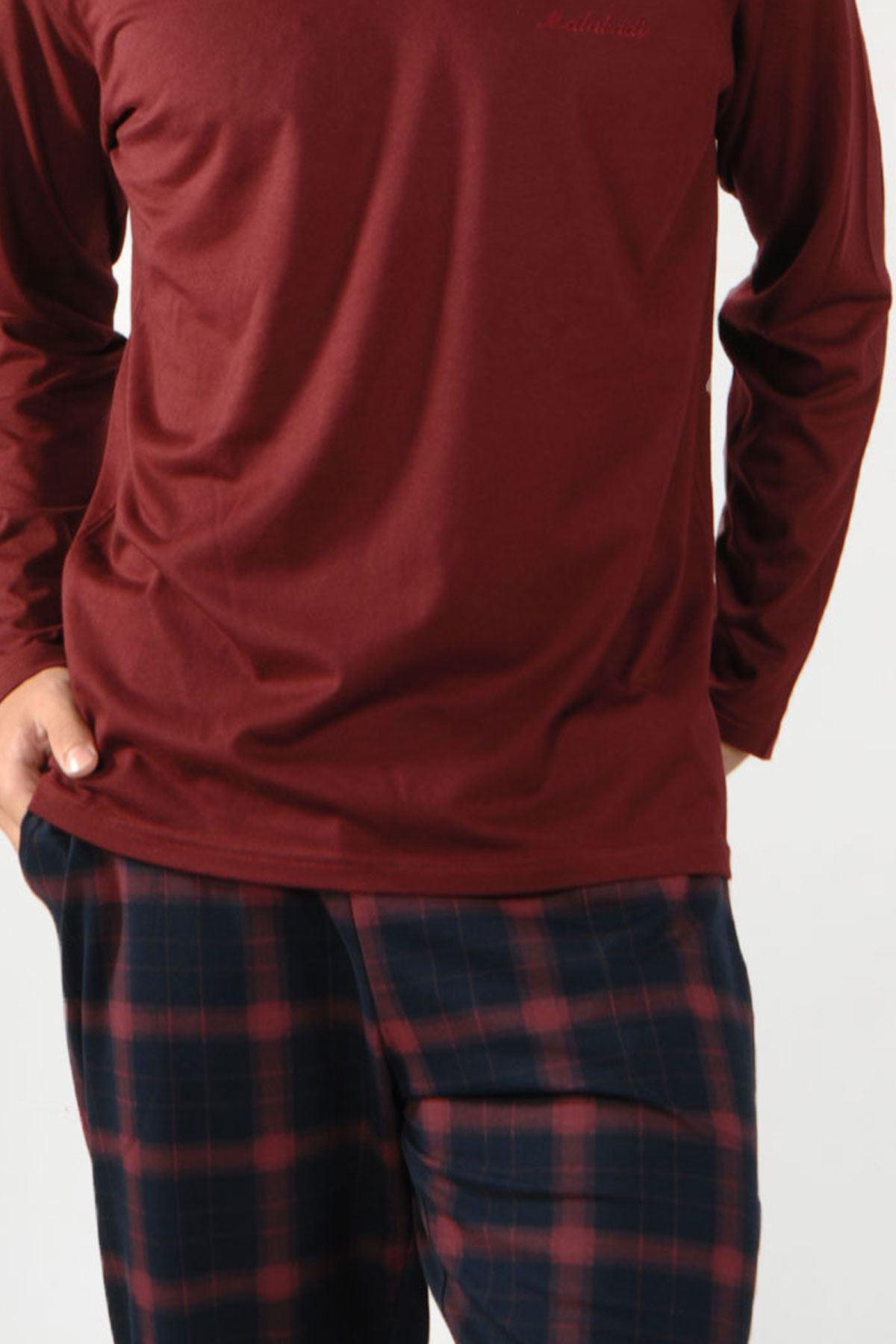 Bordo Ekoseli Erkek Pijama Takımı Düğmeli Yaka Kışlık Uzun Kollu Pijama 6015