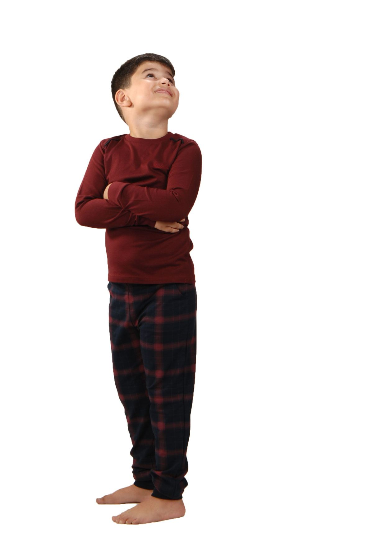 Bordo Ekoseli Erkek Çocuk Pijama Takımı Kışlık Uzun Kollu Pijama 3002