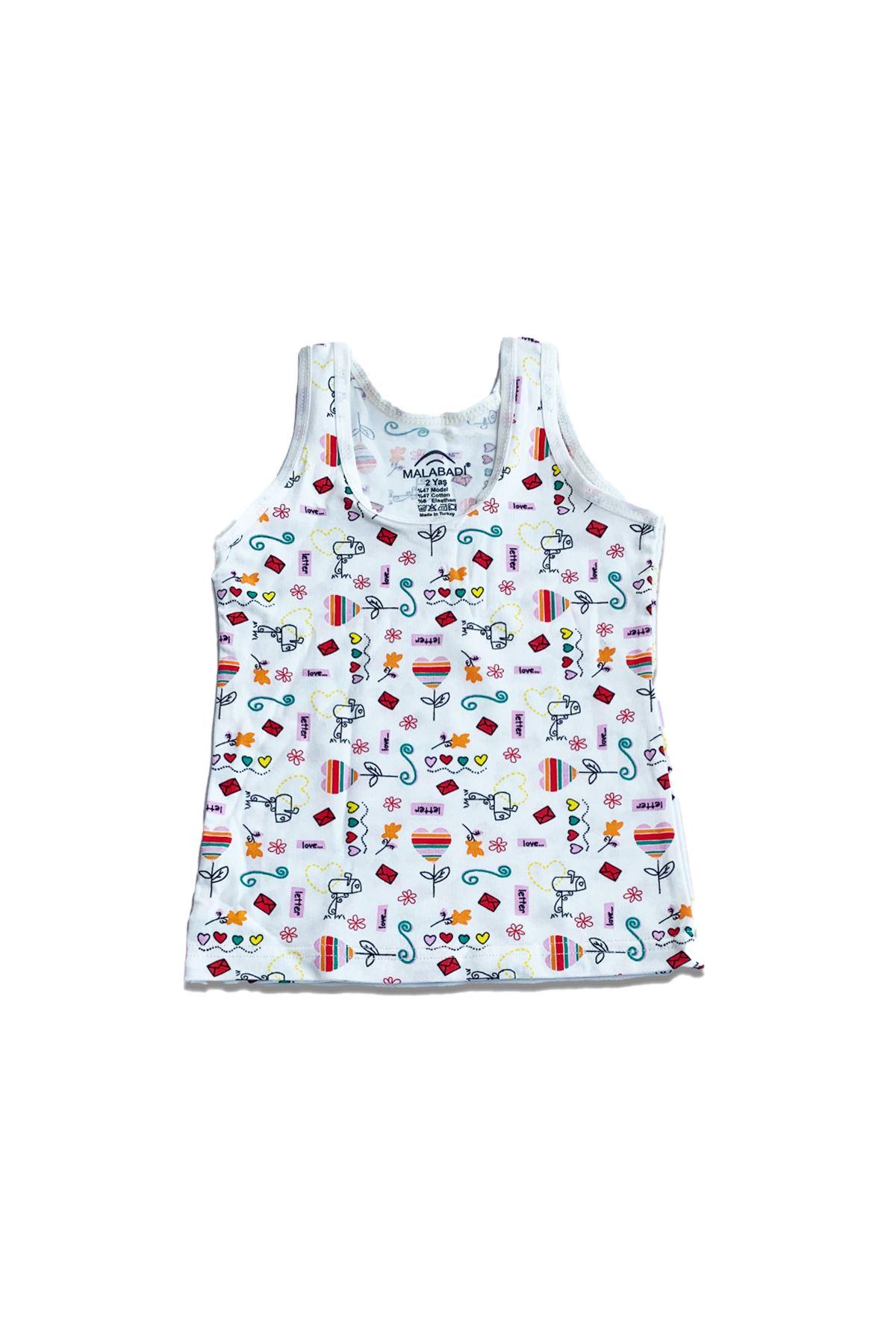 Çok Renkli Kız Çocuk Modal Geniş Askılı Atlet 6 Lı Paket 330-E6