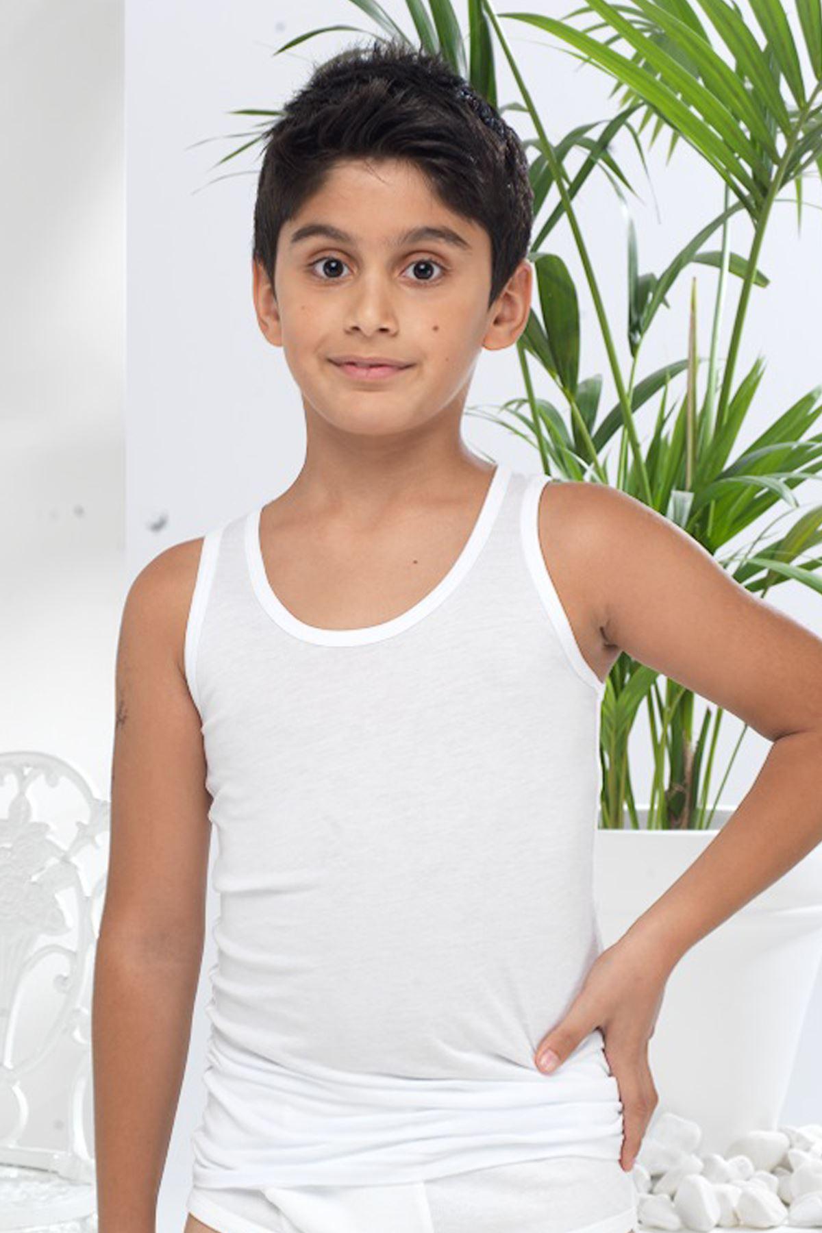 Erkek Çocuk Beyaz Modal Boxör Atlet 213