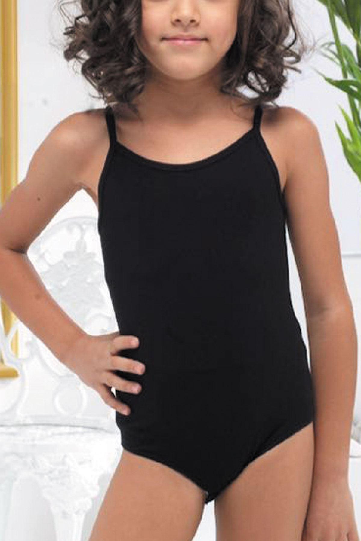 Siyah Kız Çocuk Ayarlanabilir İp Askılı Çıtçıtlı Modal Body 312