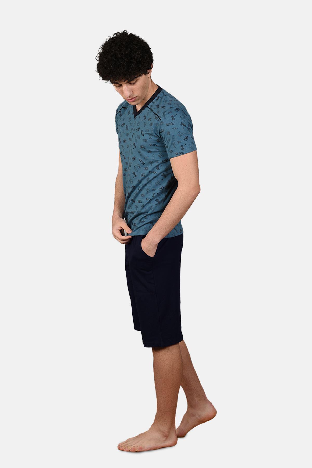 Mavi Erkek 3 Parça V Yaka Desenli Yazlık Pijama Takımı 6012
