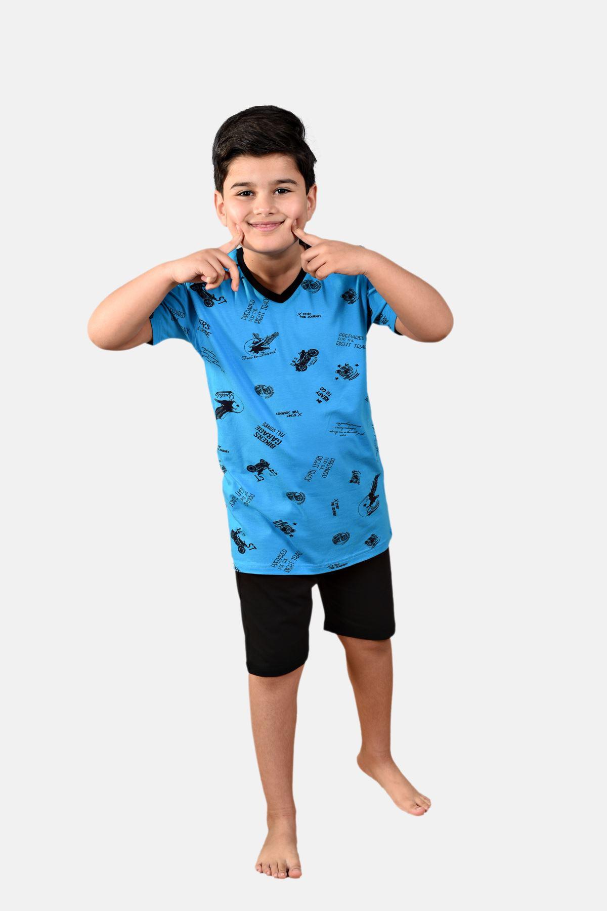 Açık Mavi Erkek Çocuk 3 Parça Desenli Yazlık Pijama Takımı 2-14 Yaş 3001