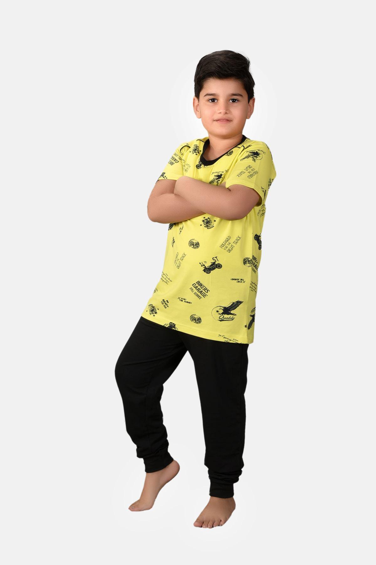 Erkek Çocuk 3 Parça Desenli Yazlık Pijama Takımı 2-14 Yaş 3001 Sarı