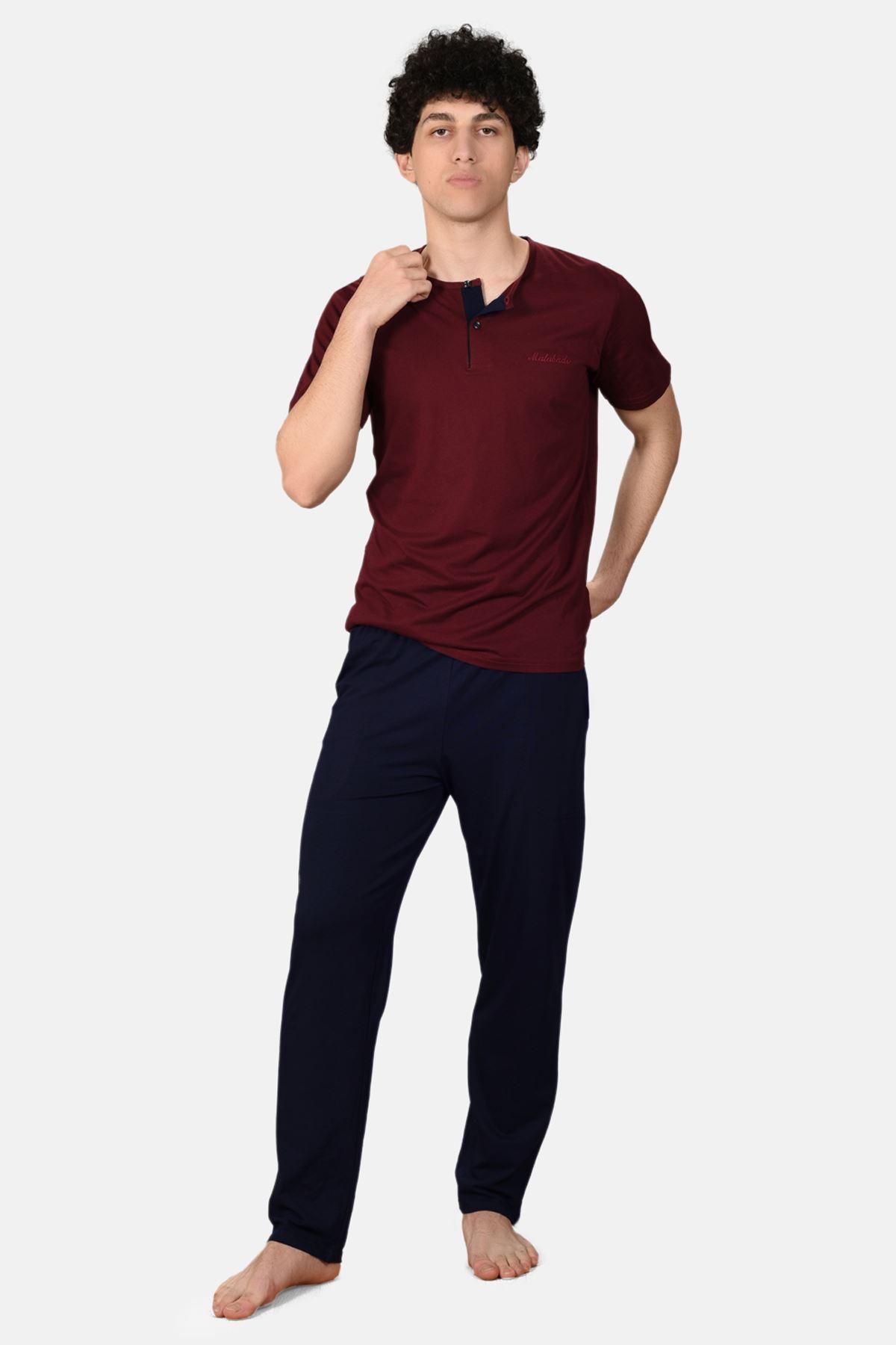 Bordo Erkek 3 lü Düğmeli Yazlık Pijama Takımı 6001