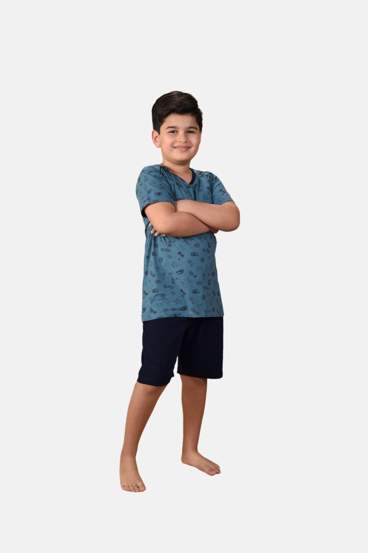 Mavi Erkek Çocuk 3 Parça Desenli Yazlık Pijama Takımı 2-14 Yaş 3001