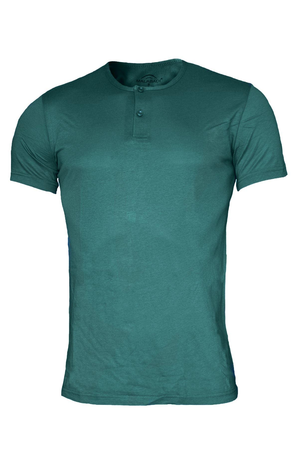 Yeşil Erkek Düğmeli Yaka Yaz Serinliği Tshirt 083