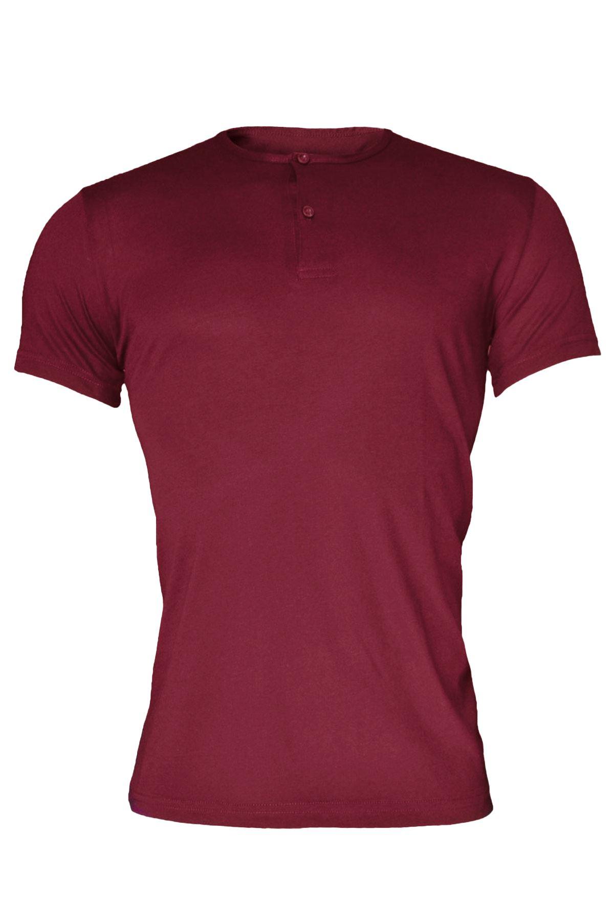 Bordo Erkek Düğmeli Yaka Yaz Serinliği Tshirt 083
