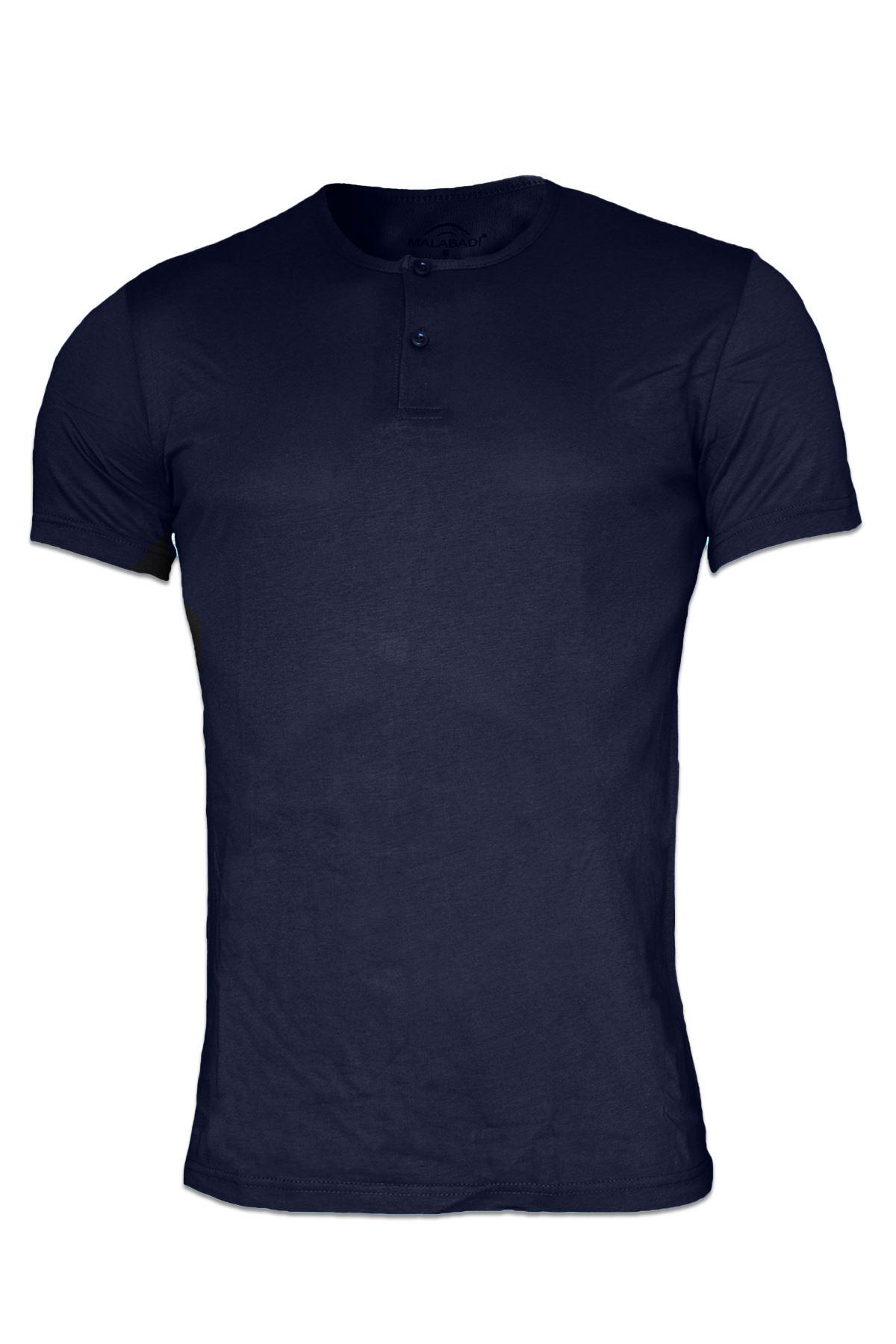 Lacivert Erkek Düğmeli Yaka Yaz Serinliği Tshirt 083