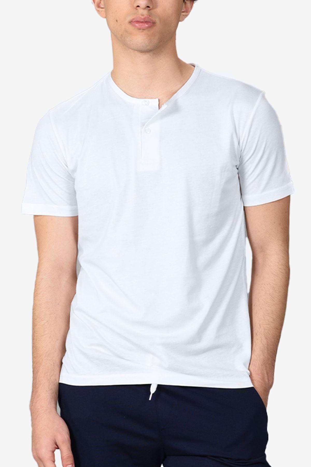 Beyaz Erkek Düğmeli Yaka Yaz Serinliği Tshirt 083
