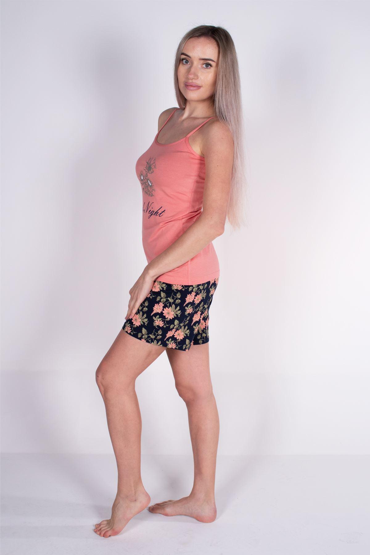 Malabadi Kadın Somon İp Askılı Şortlu Modal Pijama Takımı 5006