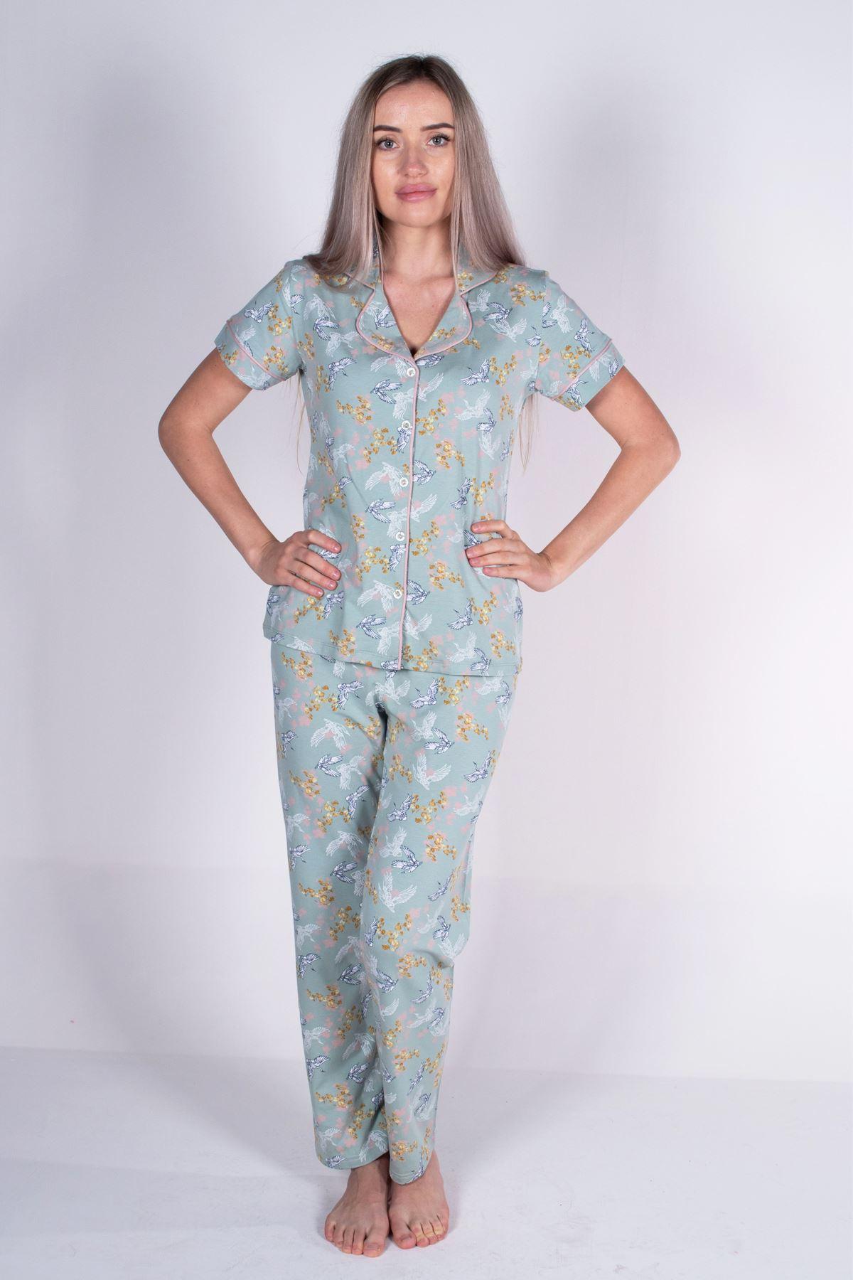 Malabadi Kadın Yeşil Düğmeli Likralı Modal Yazlık Pijama Takımı 5004