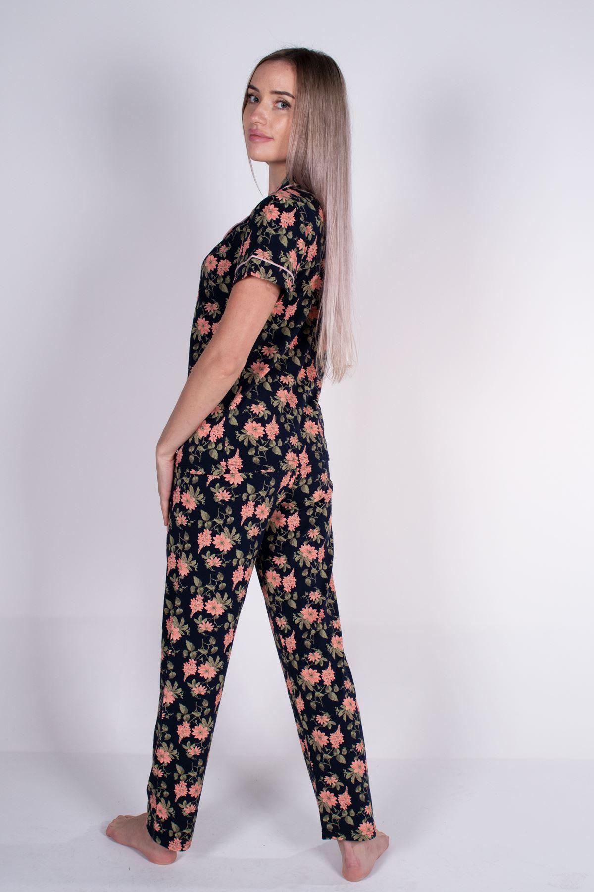 Malabadi Kadın Lacivert Düğmeli Likralı Modal Yazlık Pijama Takımı 5004