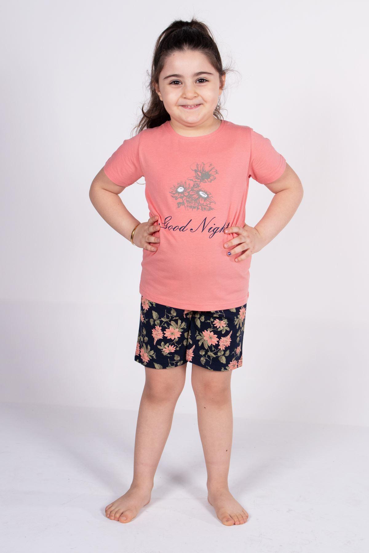 Malabadi Kız Çocuk Somon Kısa Kollu Yazlık Pijama Baskılı Şortlu Takım 4004