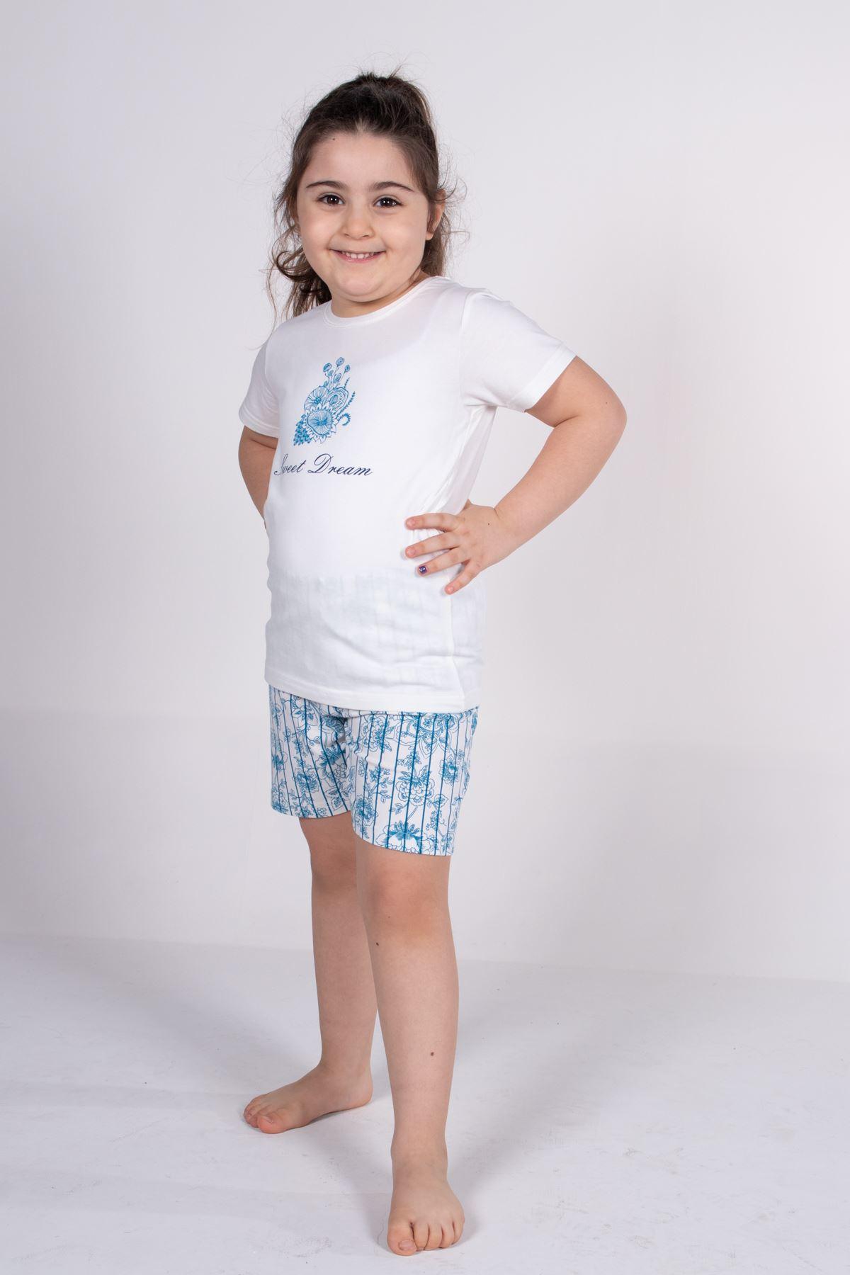 Malabadi Kız Çocuk Ekru Kısa Kollu Yazlık Pijama Baskılı Şortlu Takım 4004