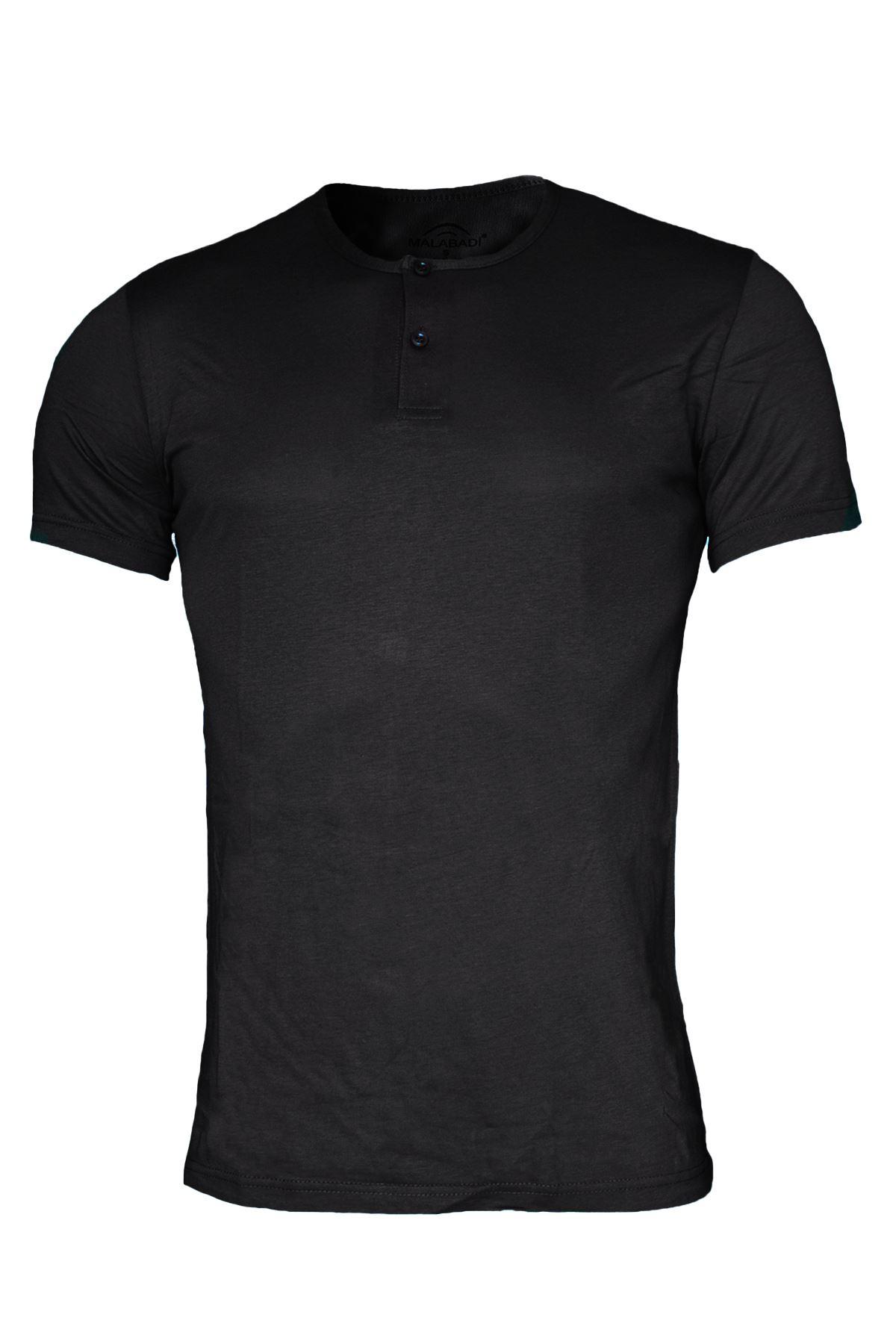 Malabadi Erkek 3 lü Paket Siyah-Beyaz-Antrasit Düğmeli Yaka İnce Modal Tişört 3M083