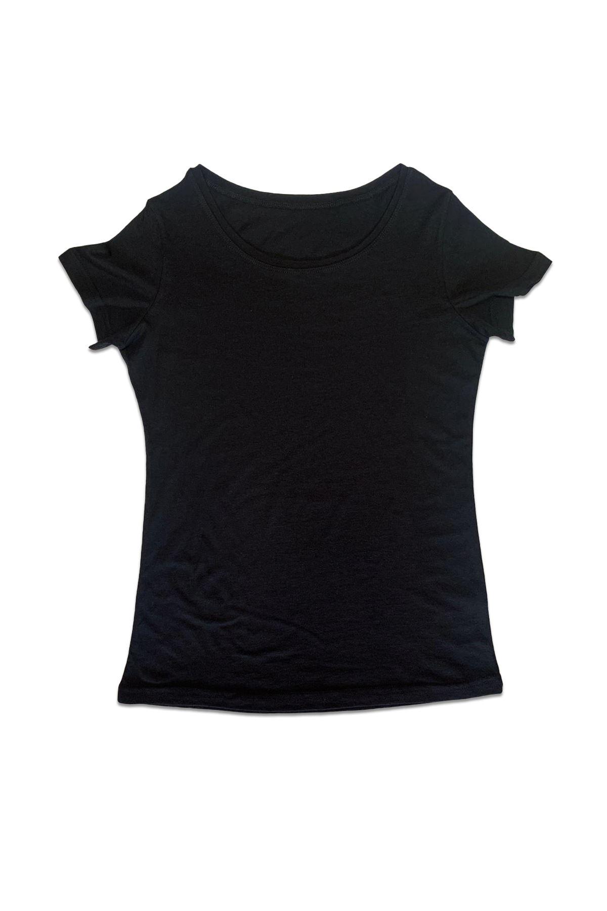 Malabadi Kadın Siyah Açık Yaka Yaz Serinliği Tişört 172