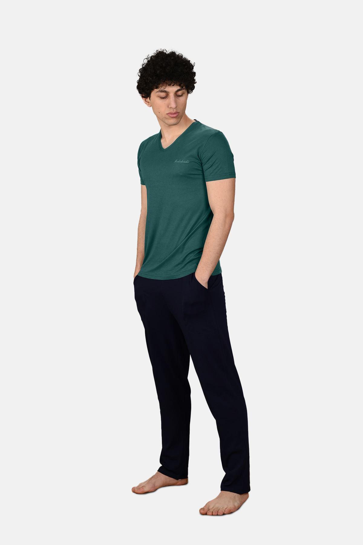 Yeşil Erkek 3 lü Yazlık Pijama Takımı V Yaka 6002
