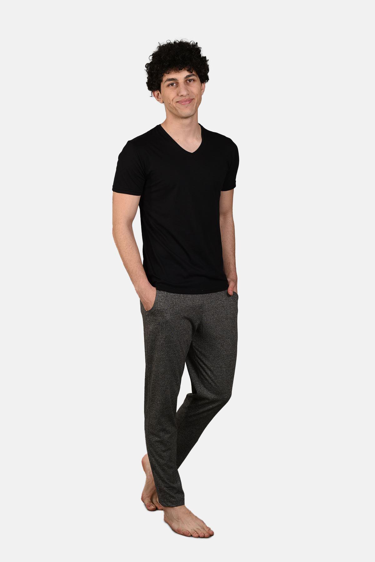 Malabadi Erkek Grimelanj Alt Siyah Üst V Yaka Yazlık Pijama Takımı M563