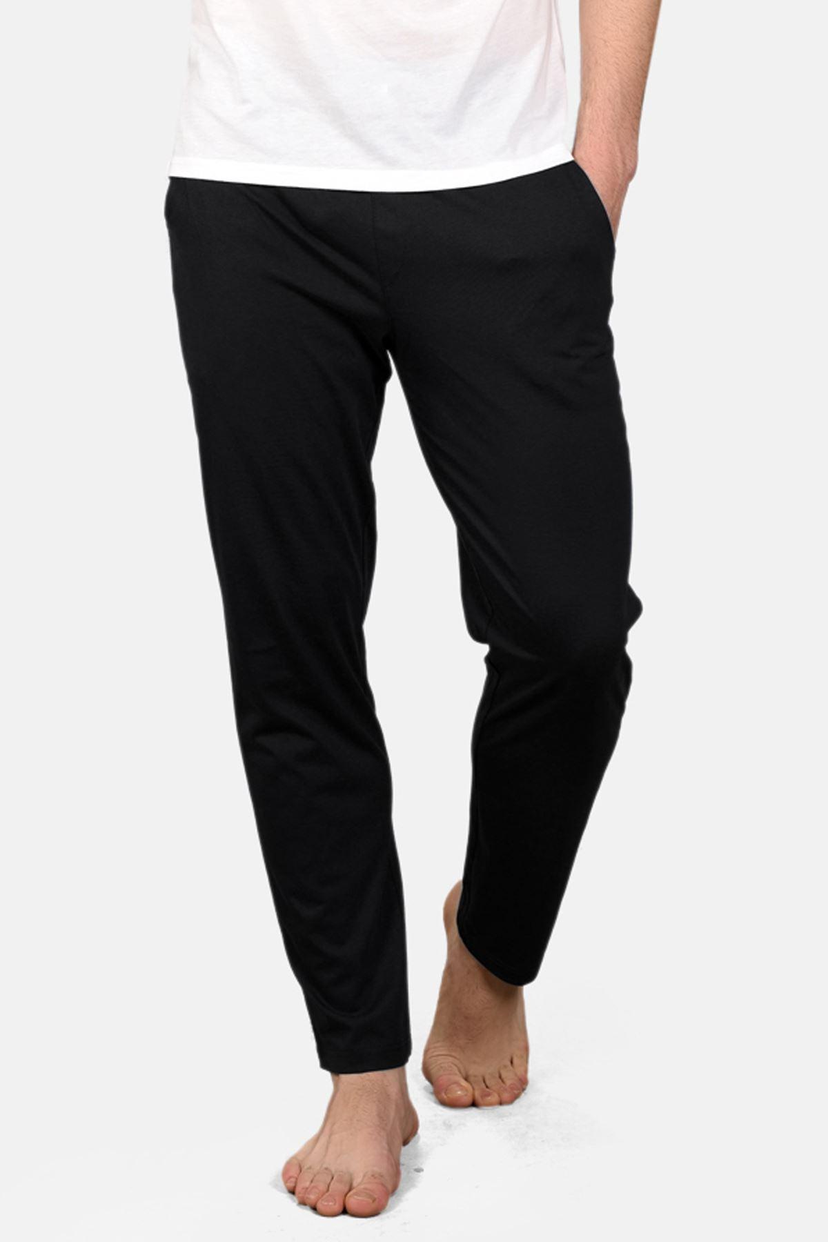 Malabadi Erkek Siyah Alt Beyaz Üst V Yaka Yazlık Pijama Takımı M563