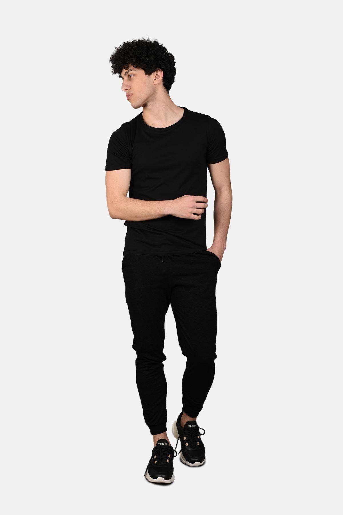 Malabadi Erkek Siyah Alt Siyah Üst Yuvarlak Yaka Yazlık Pijama Takımı M564